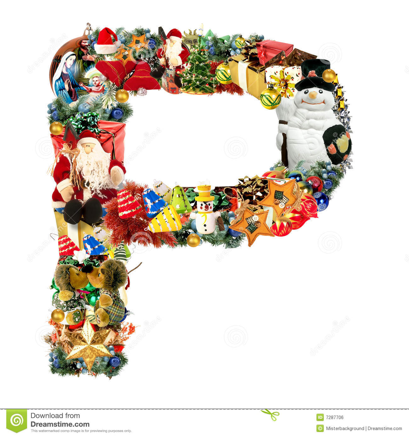 Letter p for christmas decoration royalty free stock for Letter f decoration