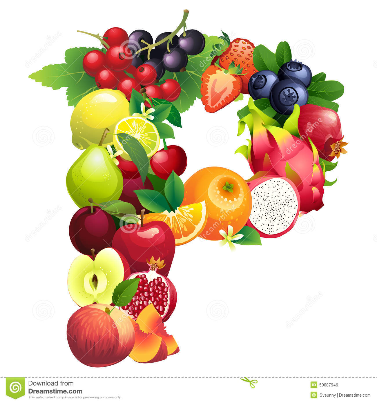 letter p composed of different fruits with leaves stock vector