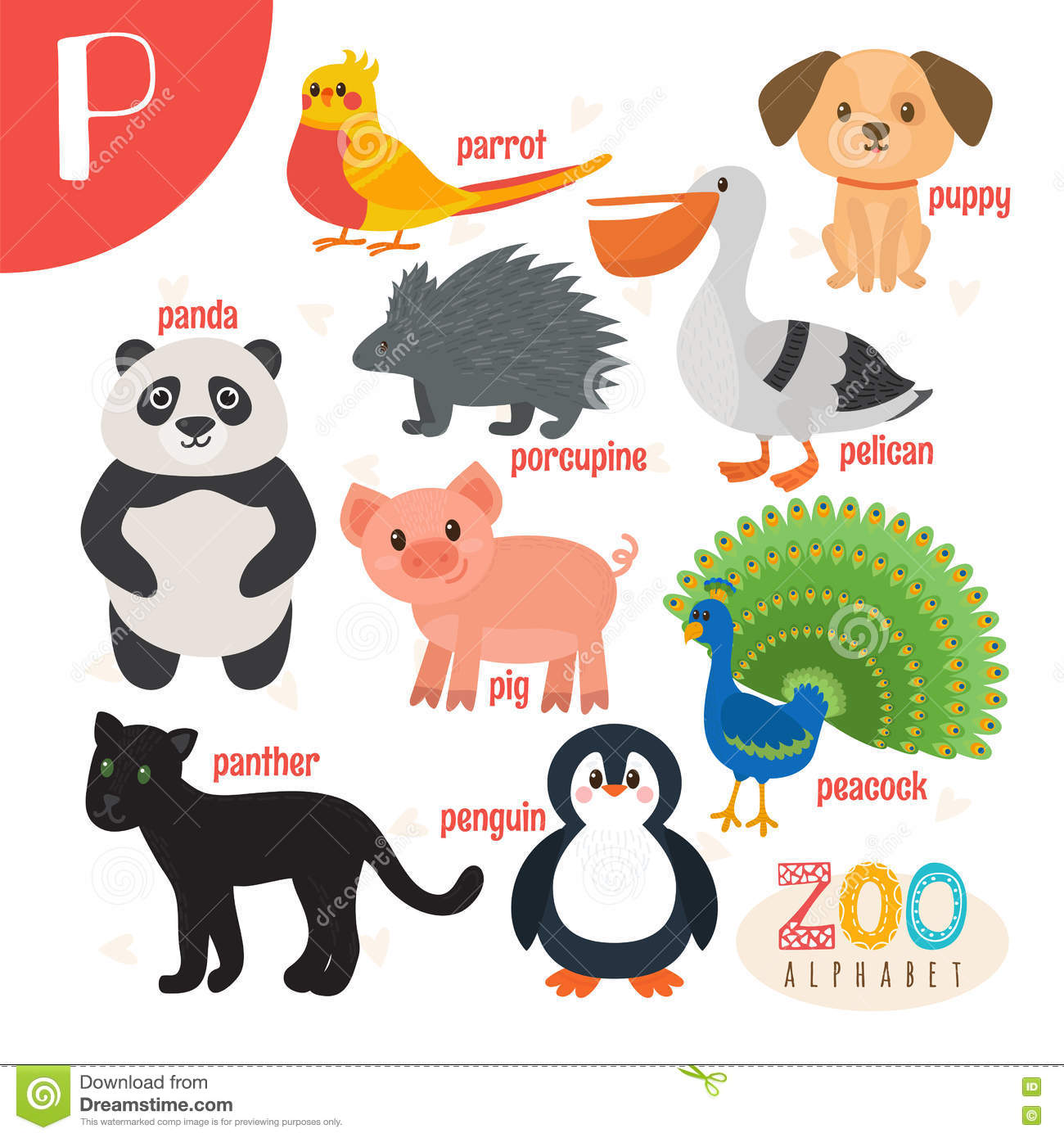 Letter P. Cute Animals. Funny Cartoon Animals In Vector. Stock