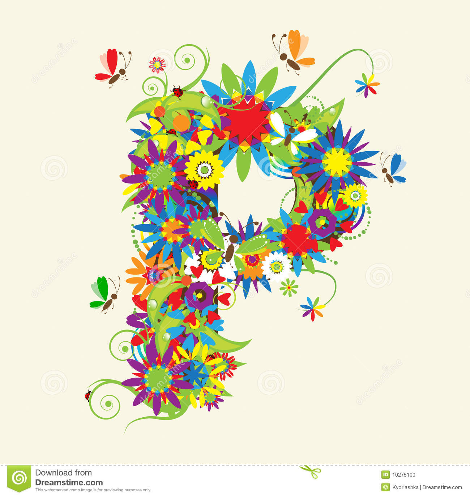 Letter P Floral Design Stock Photo