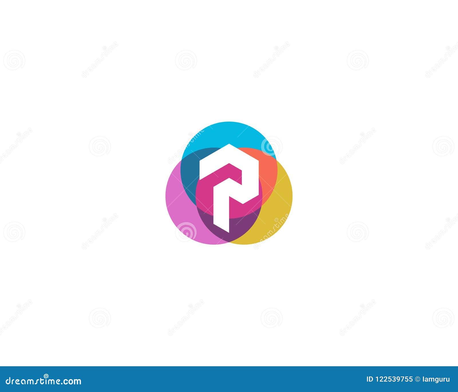 Letter P Logo Design Colorful Circles Overlay Icon Logotype Stock