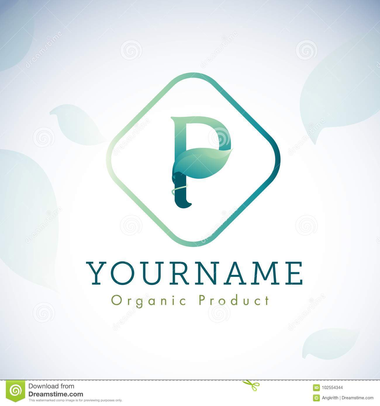 Letter P Logo Design With Leaf Nature And Organic Logo Design