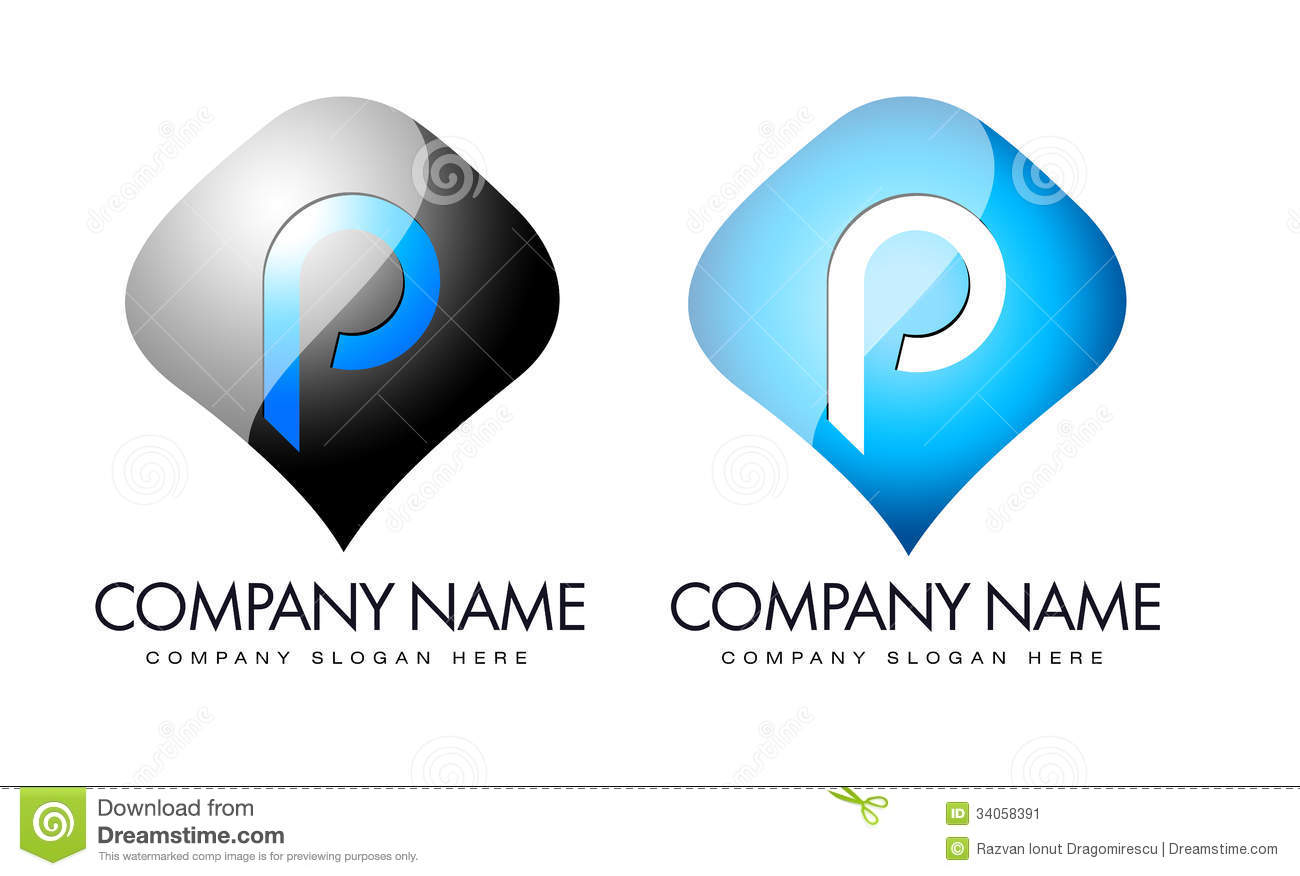 Illustration drawing representing letter p logo in blue and black ...