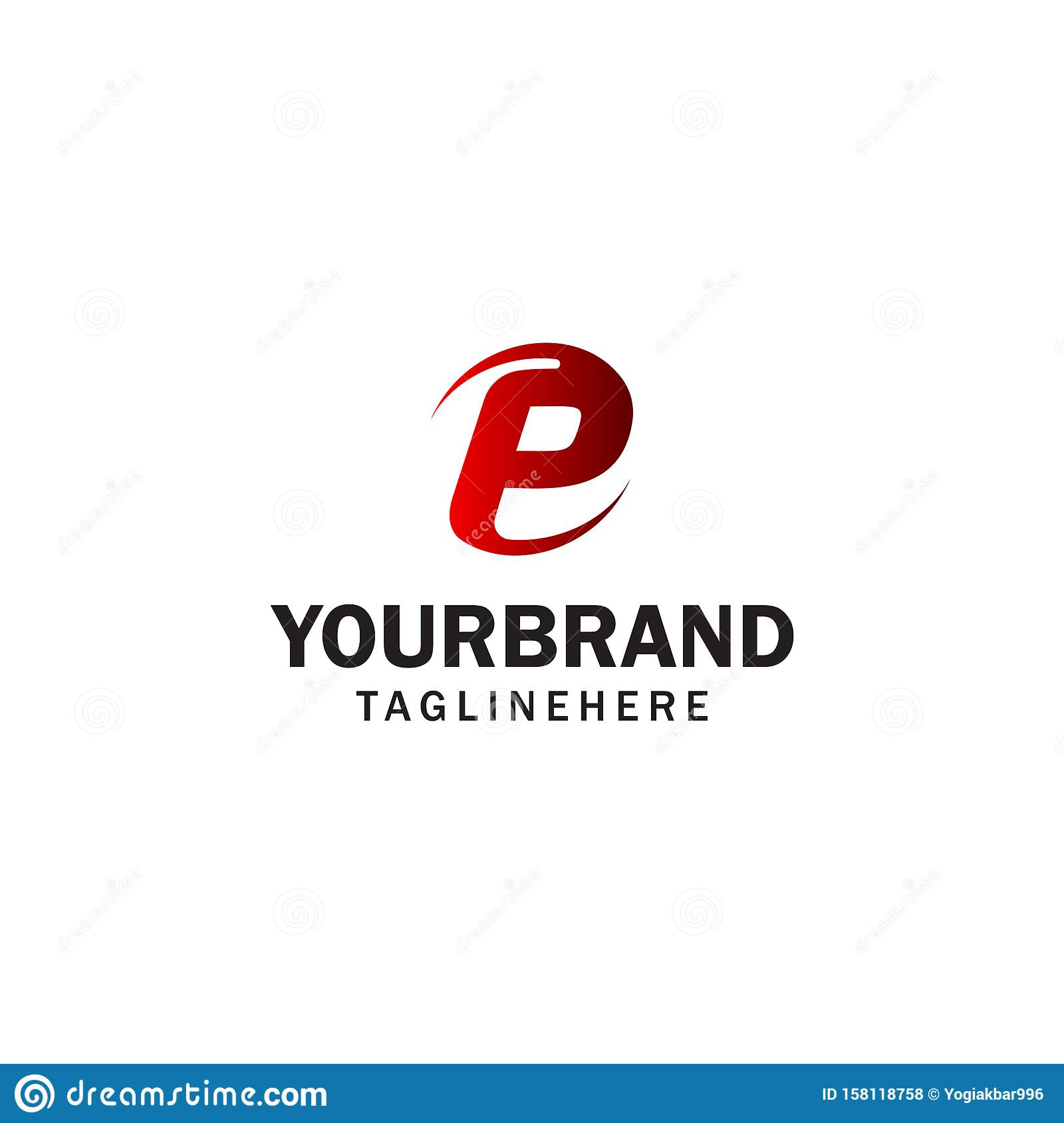 Letter P Spin Rotation Logo Design Concept Template Stock
