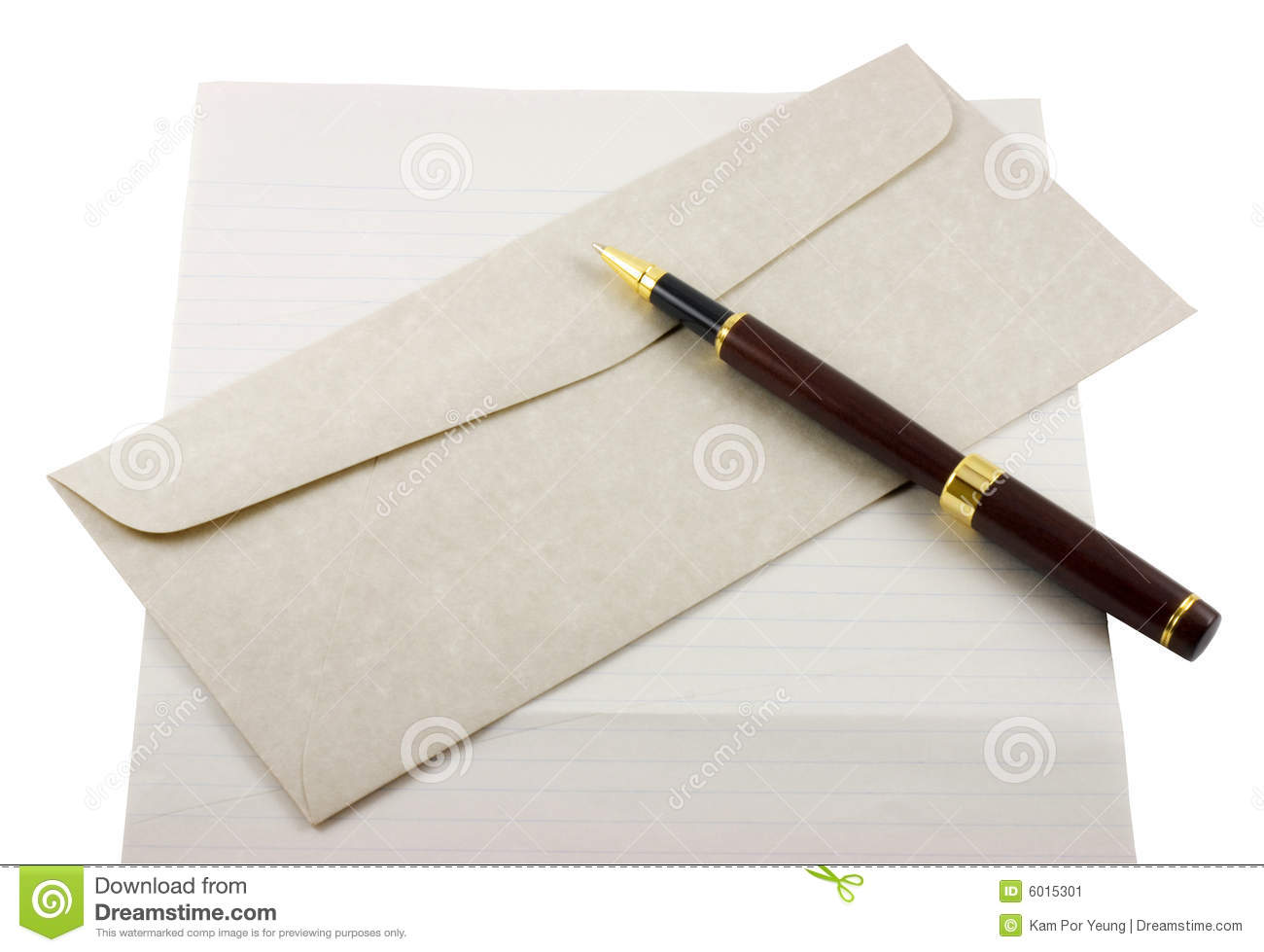 letter paper envelope and pen stock image image of closeup