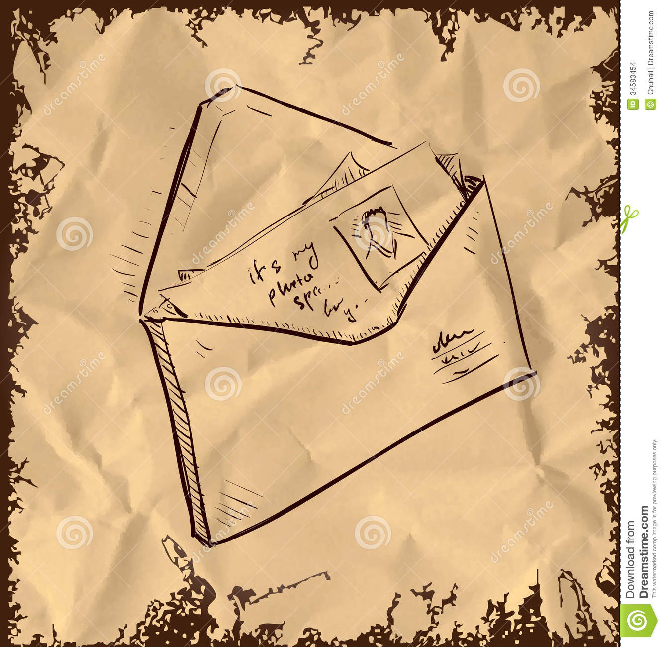 letter and photos in envelope stock images