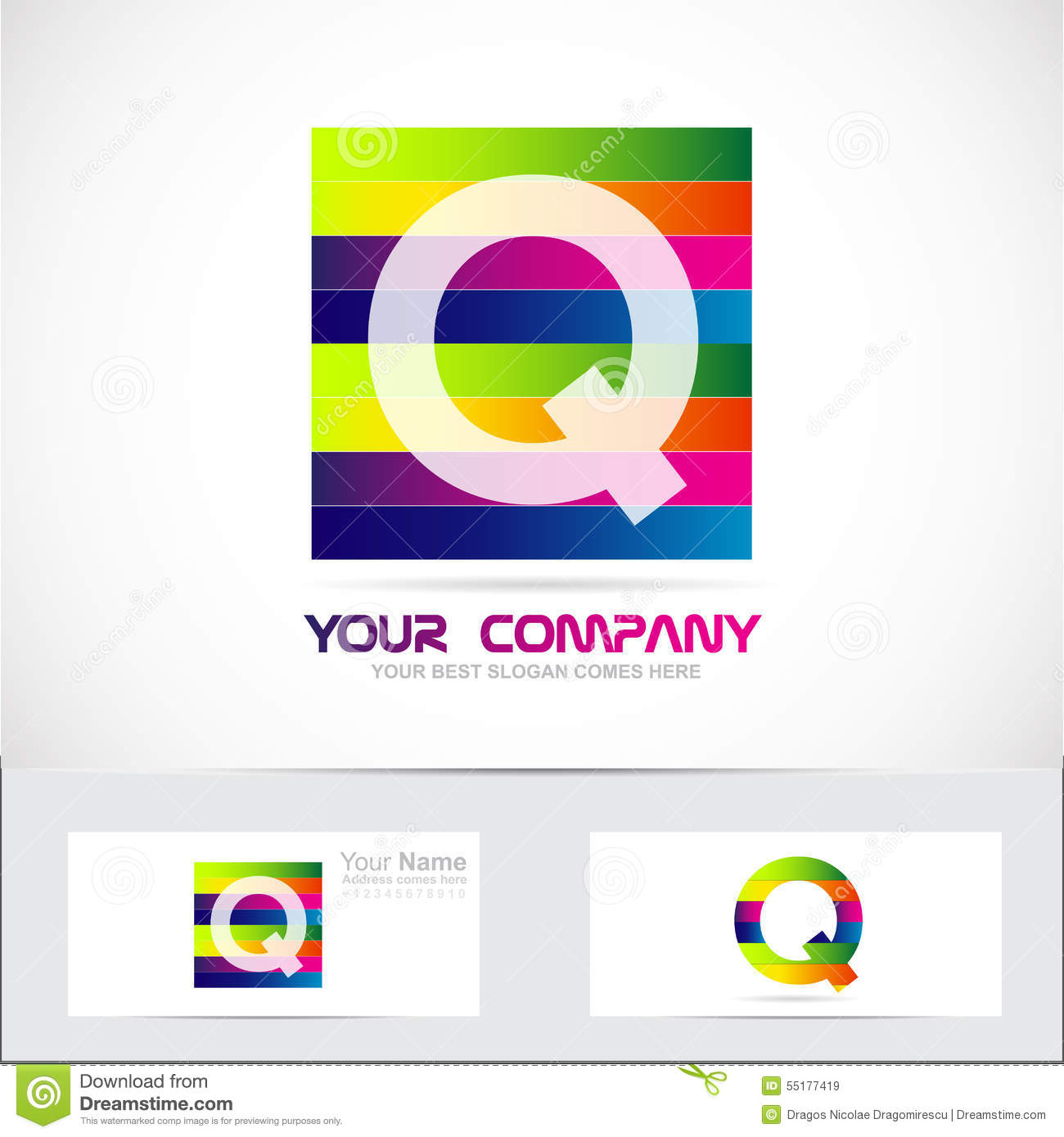 Royalty-Free Vector. Download Letter Q Colored Stripes ...