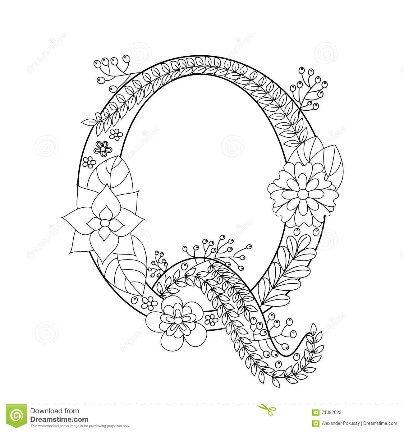 Letter Q Coloring Book For Adults Vector Stock Vector ...