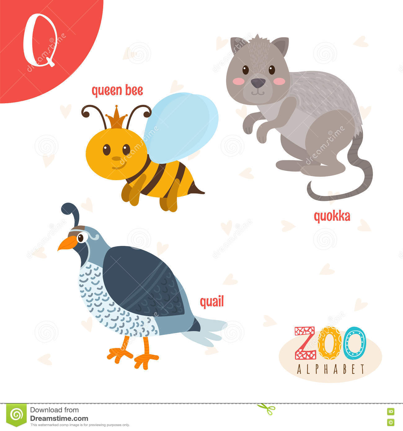 letter q cute animals funny cartoon animals in vector stock