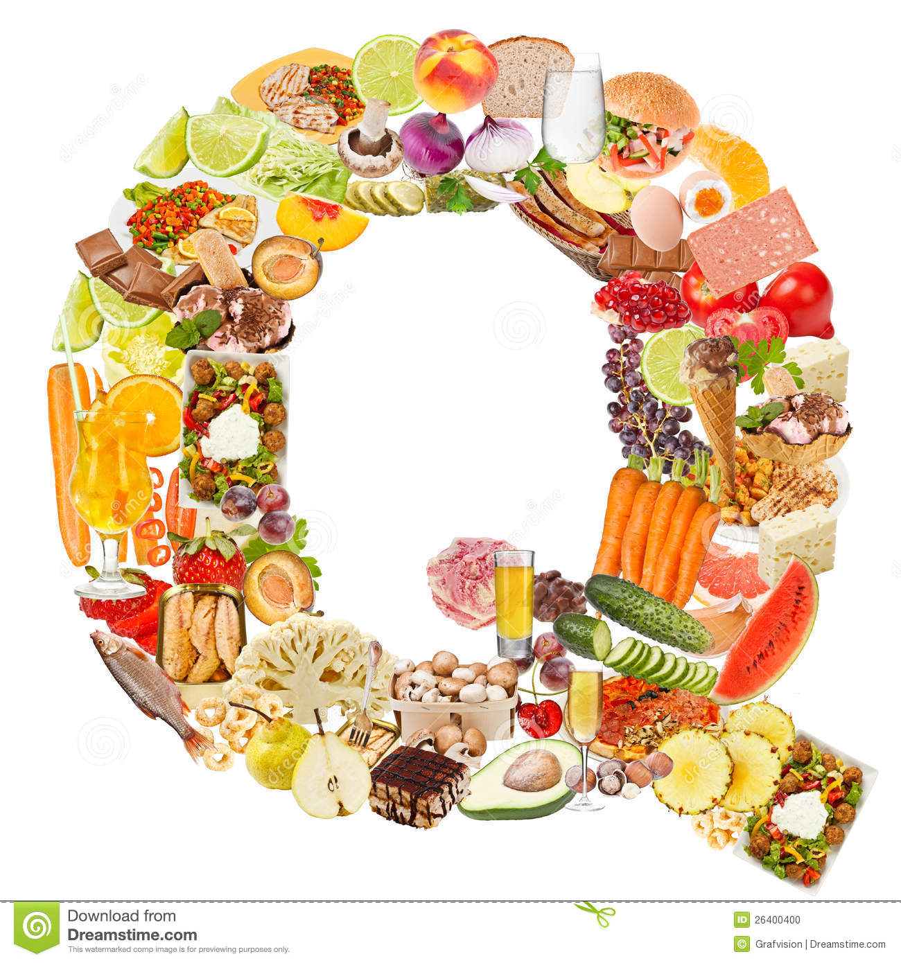 Letter Q made of food stock photo. Image of collage, arial   26400400