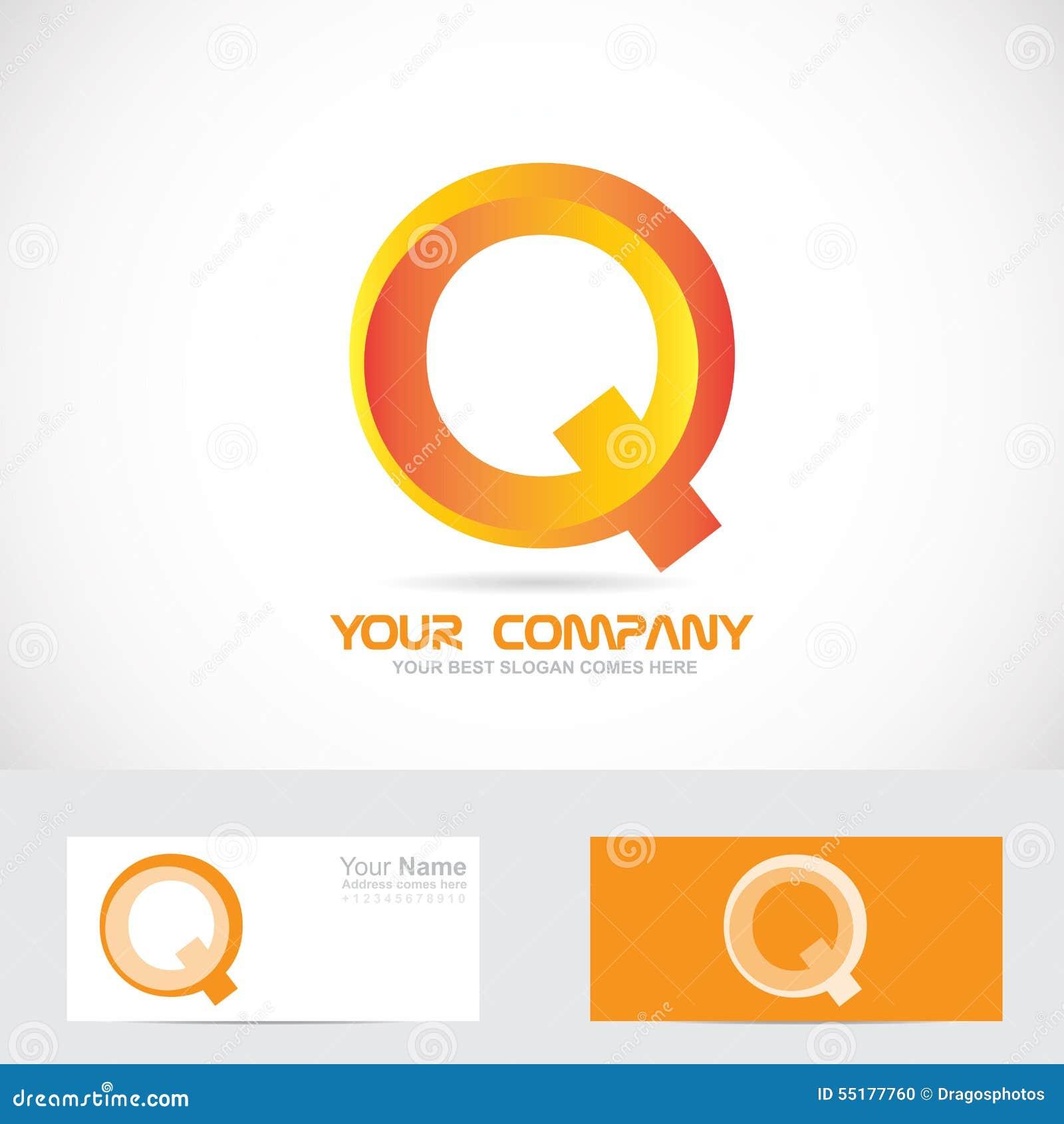 Letter q orange 3d logo icon