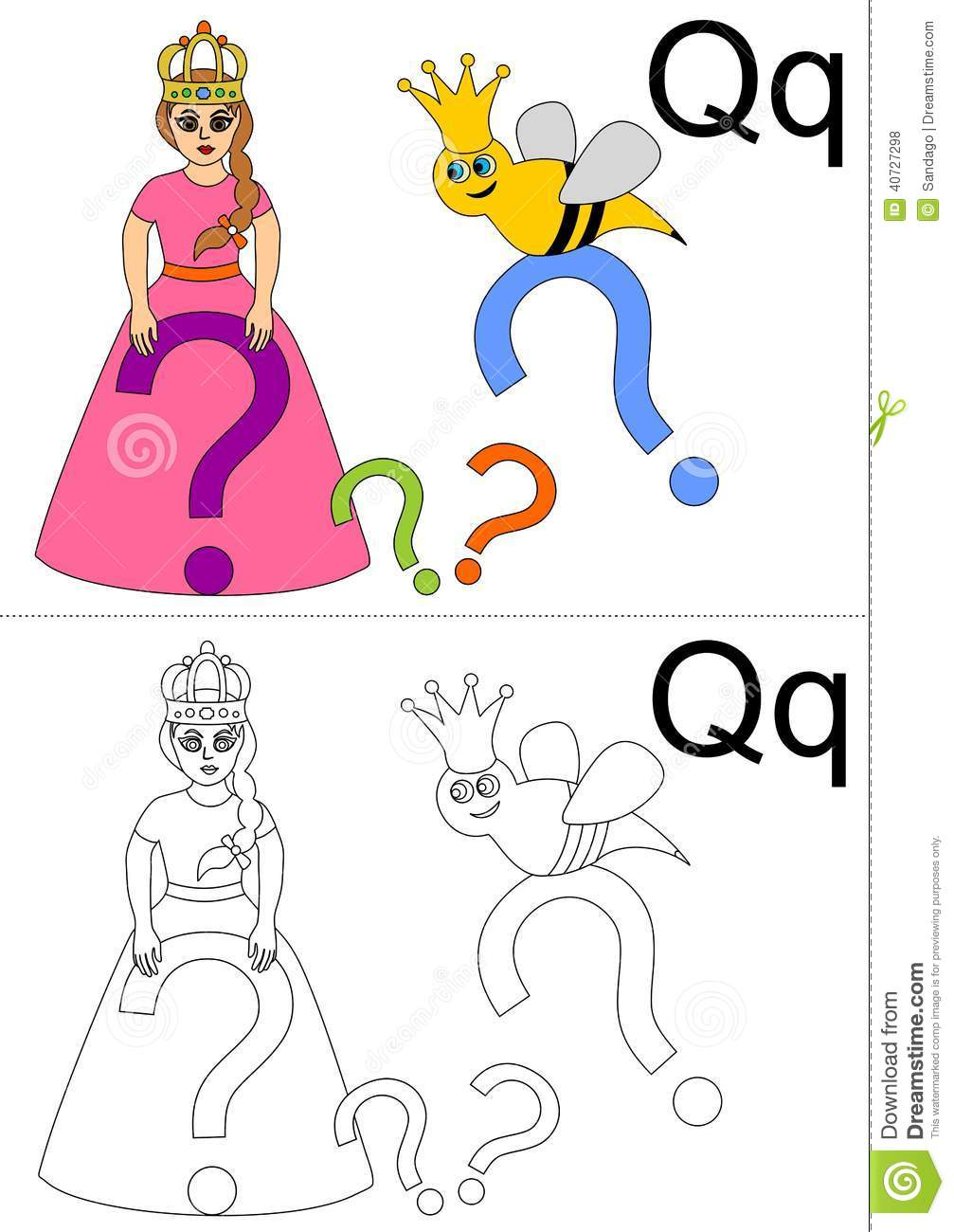 Letter q worksheet stock vector image 40727298 royalty free stock photo robcynllc Image collections
