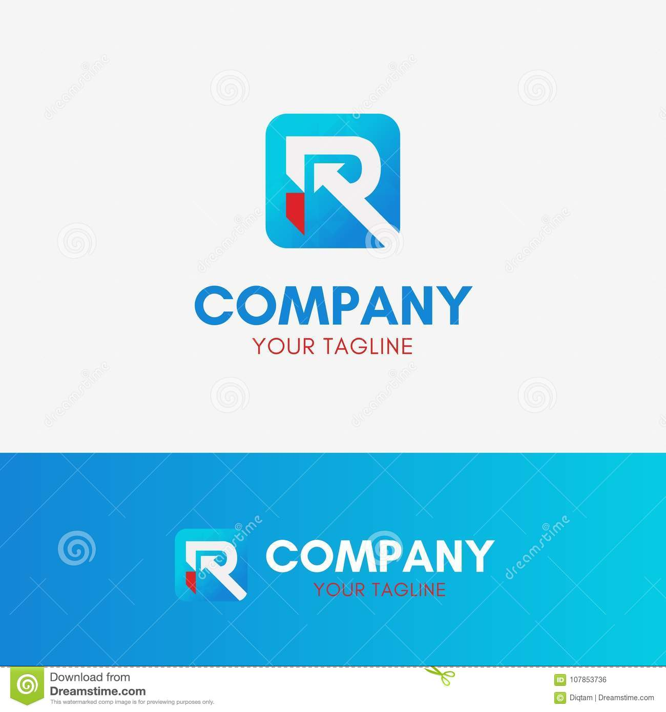 letter r app logo stock vector illustration of minimal 107853736
