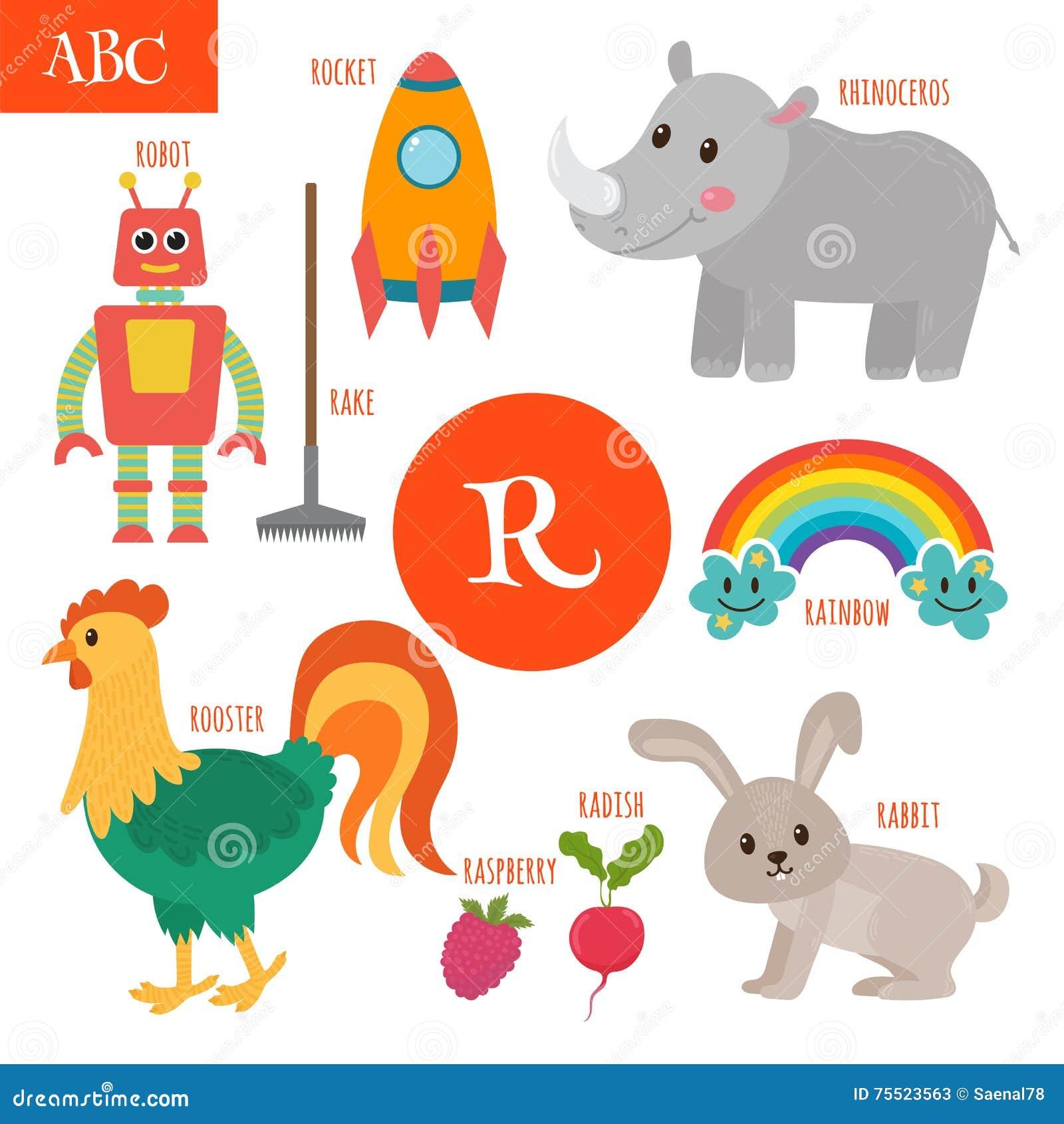 letter r cartoon alphabet for children radish rhinoceros roc stock