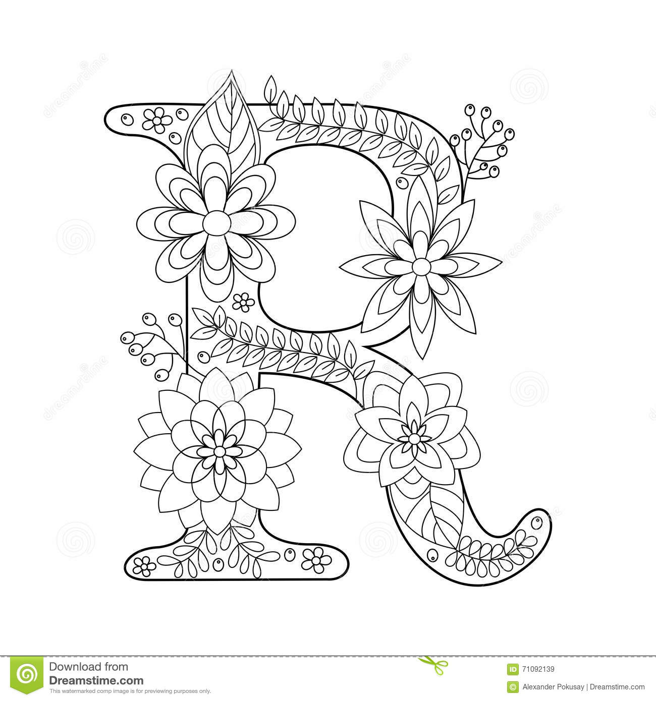 Royalty Free Vector Download Letter R Coloring Book For Adults