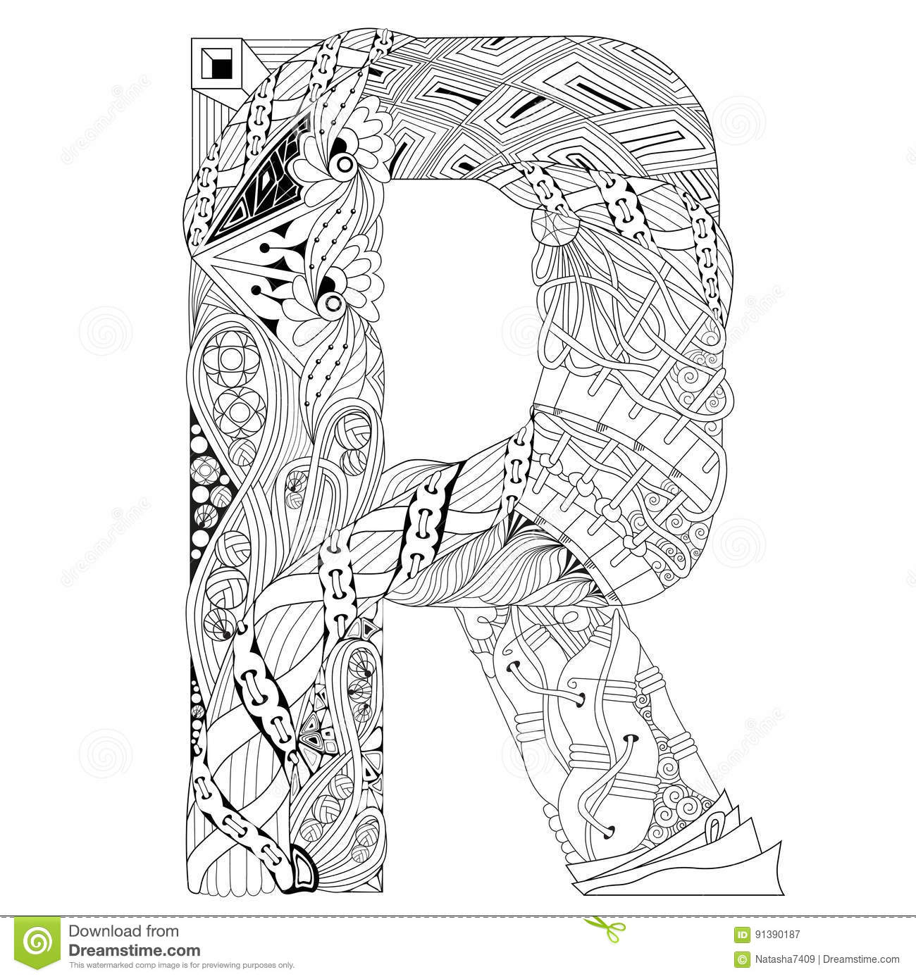 letter r for coloring vector decorative zentangle object stock
