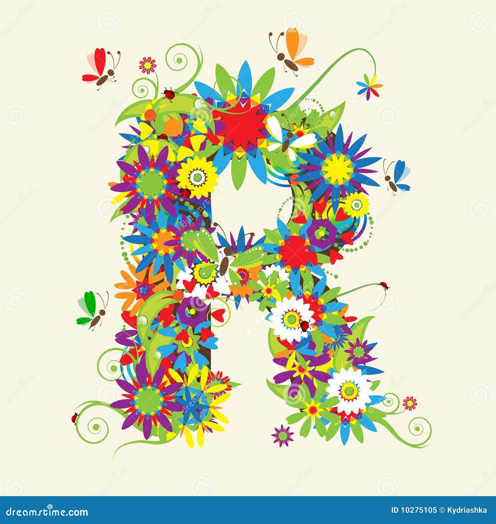 letter r floral design