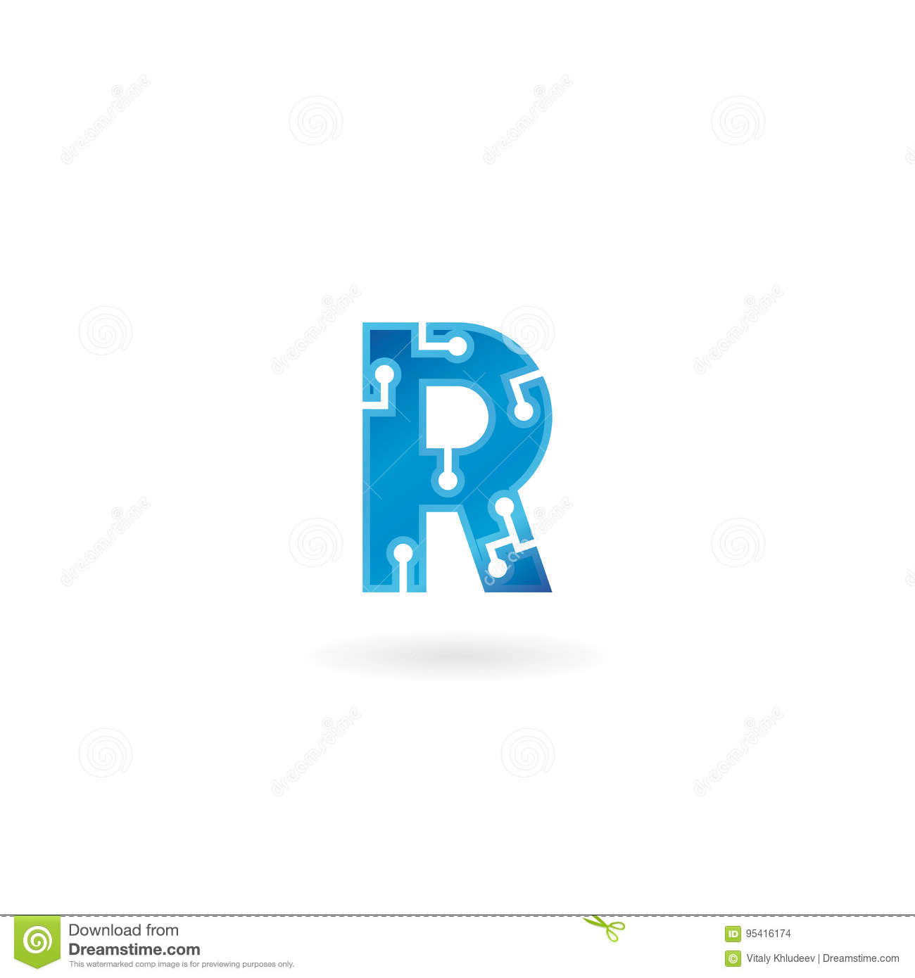 Letter R icon. Technology Smart logo, computer and data related business, hi-tech and innovative, electronic.