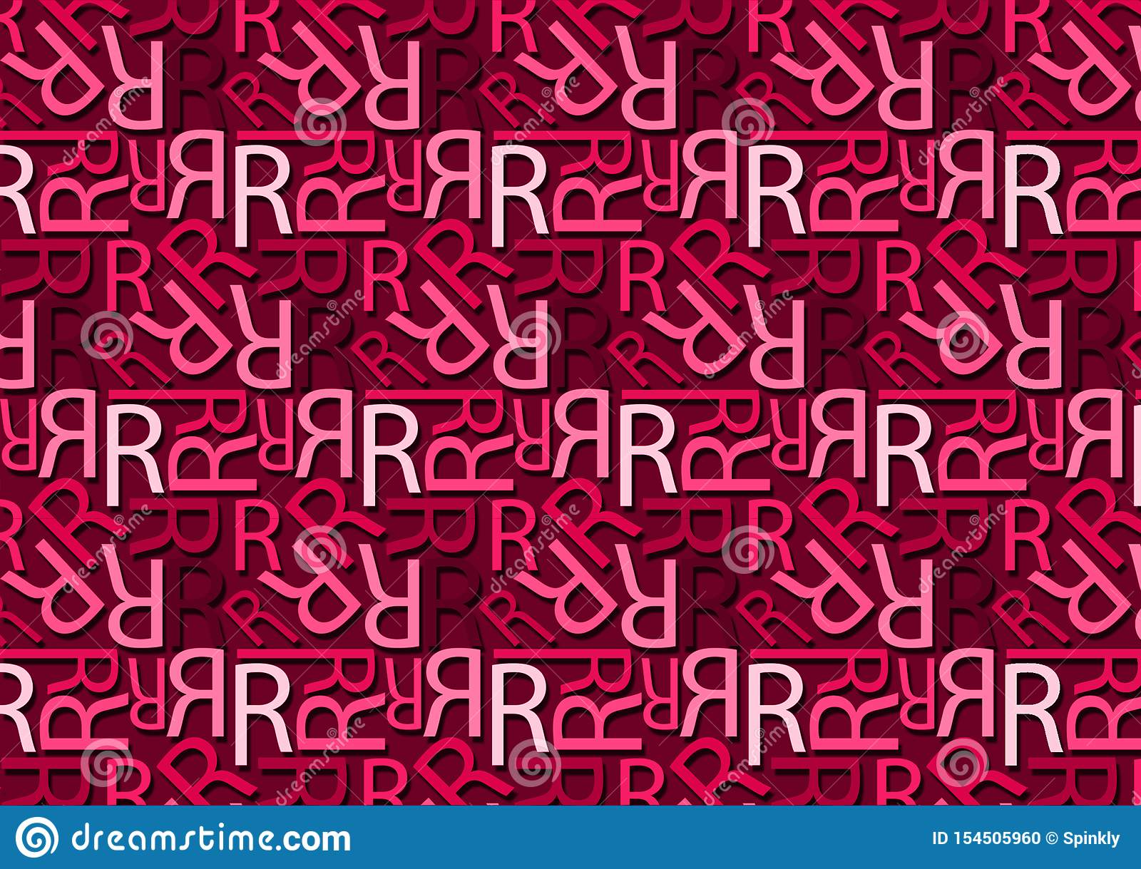Letter R Pattern In Different Colored Pink Shades For