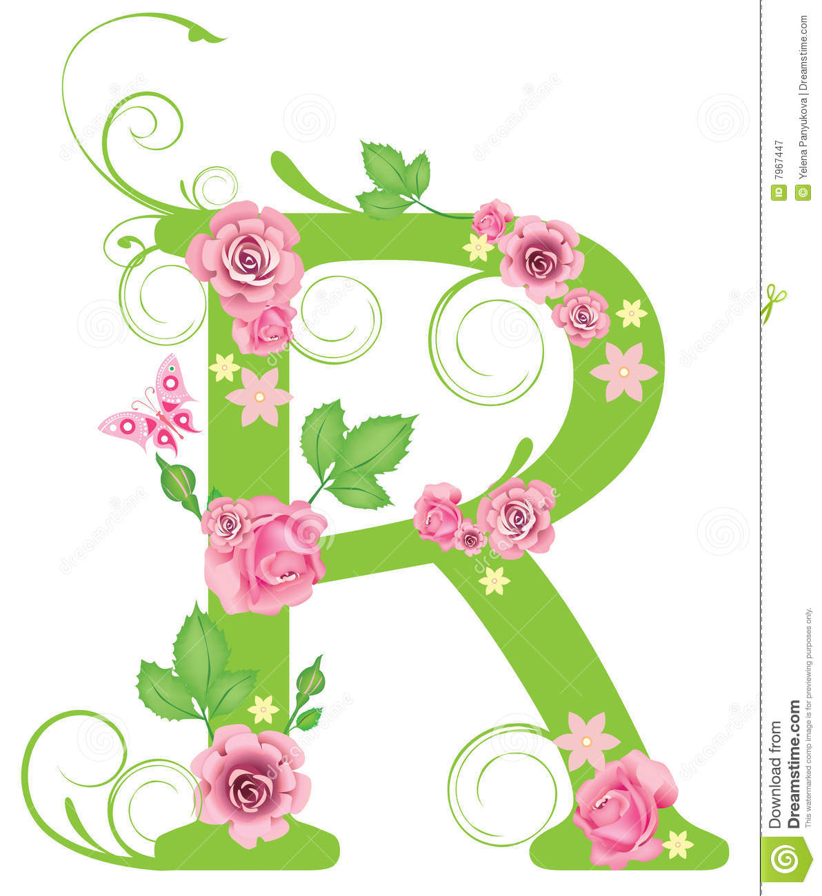Letter r with roses stock vector illustration of swirl 7967447 download comp altavistaventures Image collections