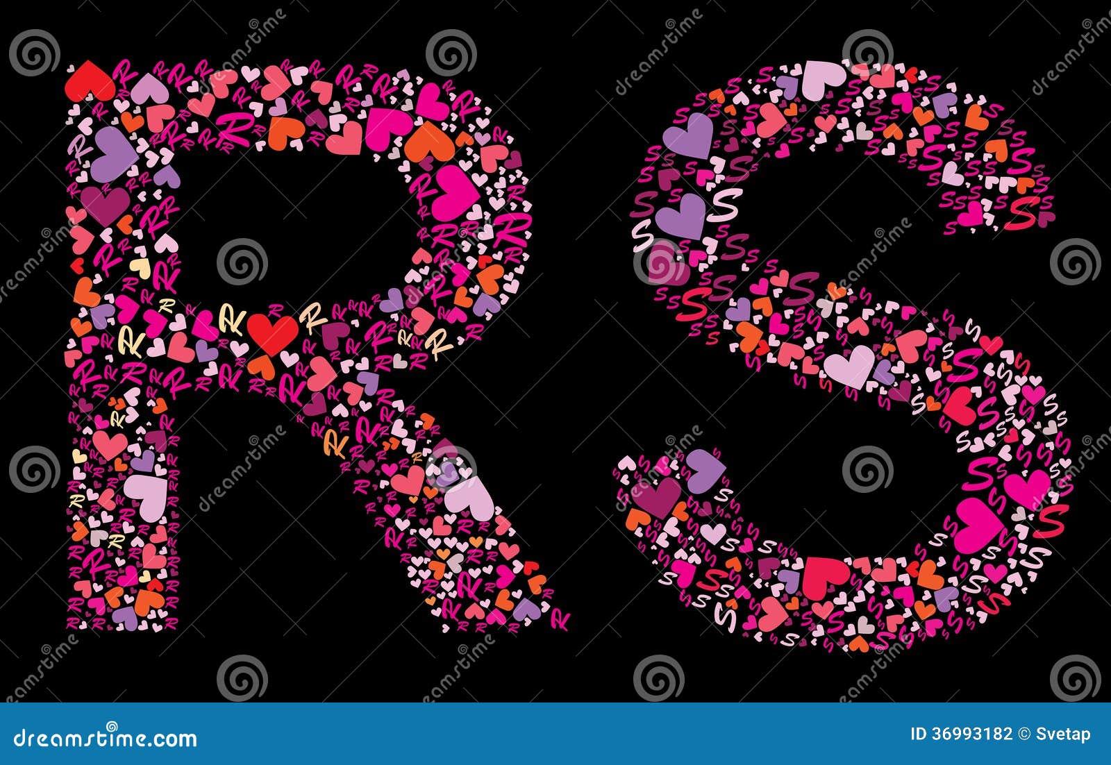 letter r, s. valentine alphabet stock vector - image: 36993182
