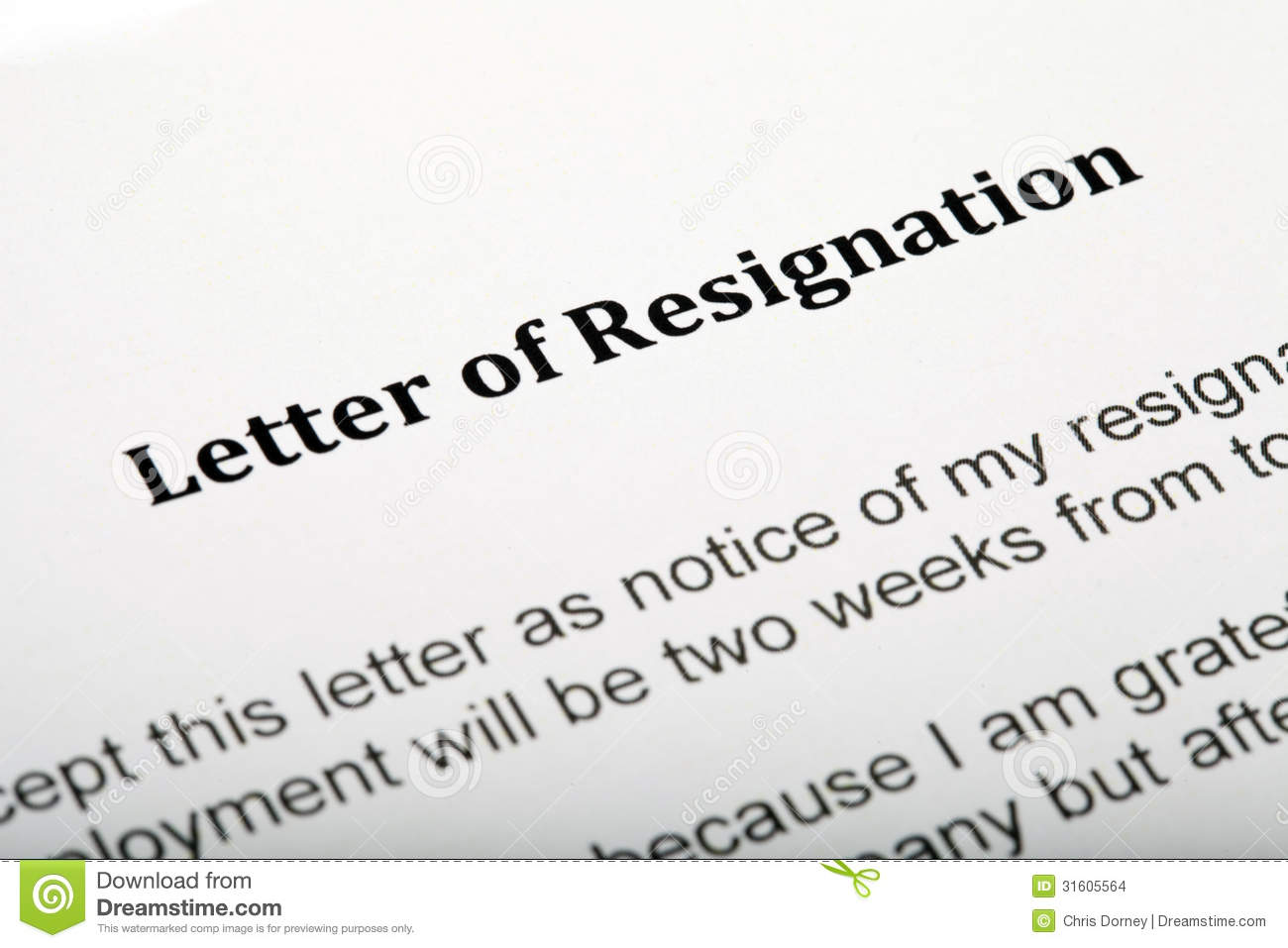 Close Up Of A Letter Of Resignation