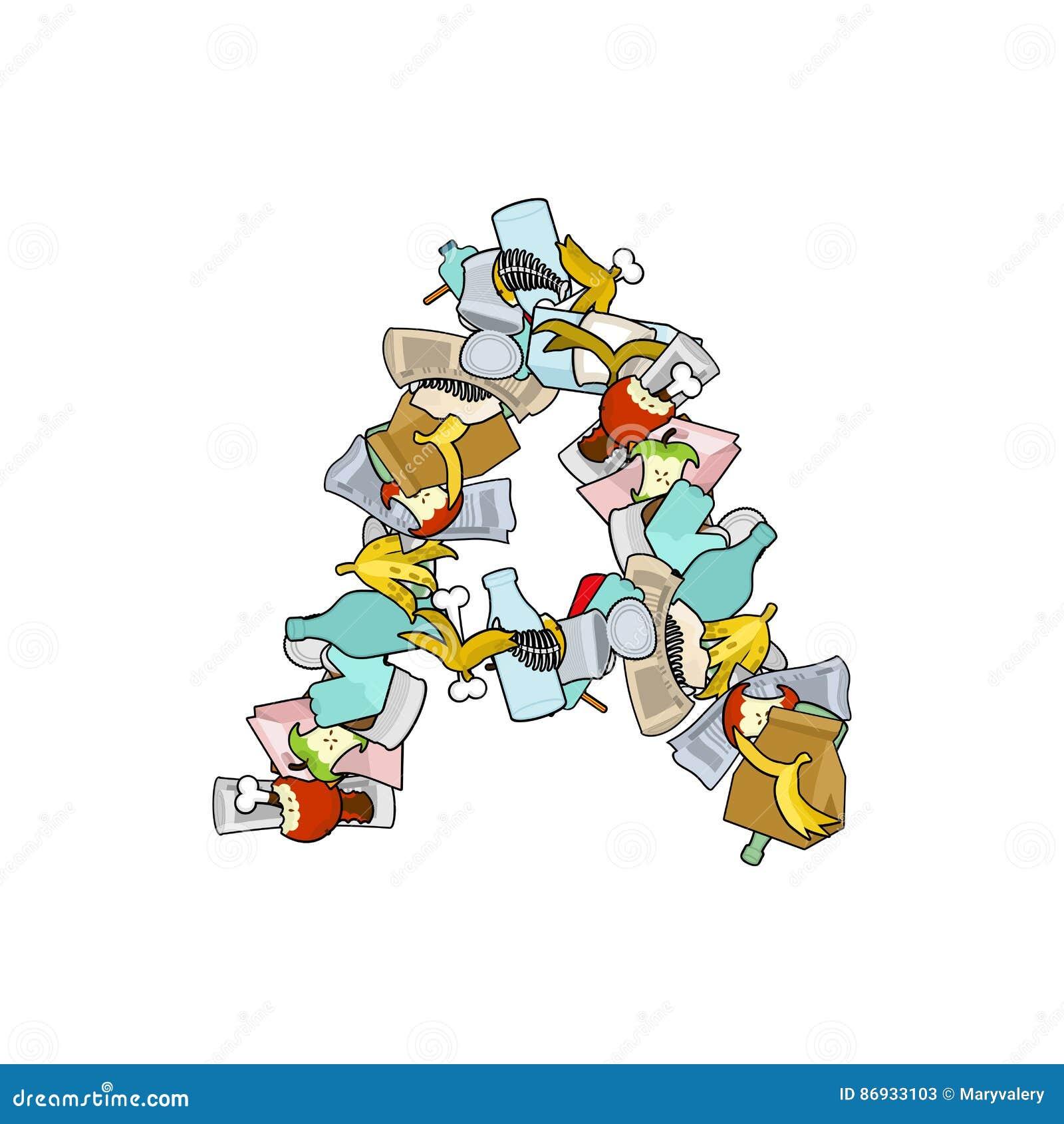 letter a rubbish  trash font  garbage alphabet  lettering