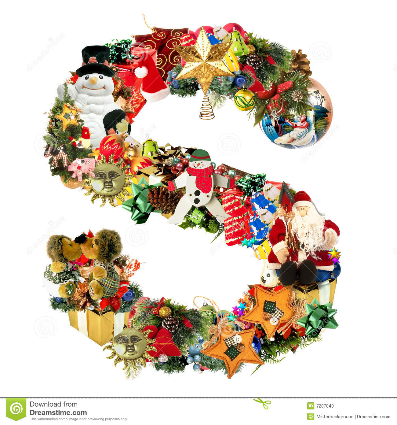 Letter s for christmas decoration stock illustration for S letter decoration