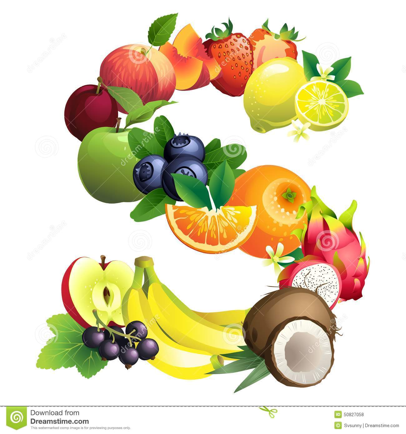 Letter S Composed Of Different Fruits With Leaves Stock