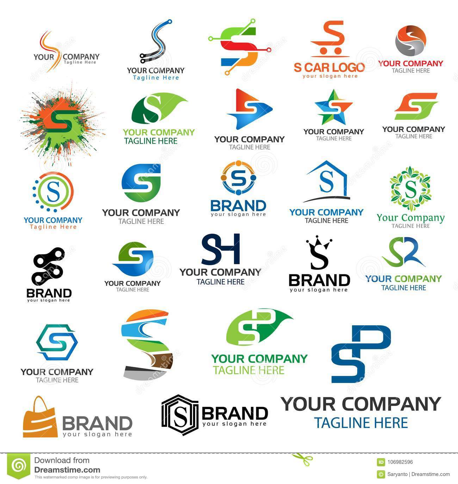 Letter S Logo Set Set Of Colorful S Letter Symbols Stock Vector