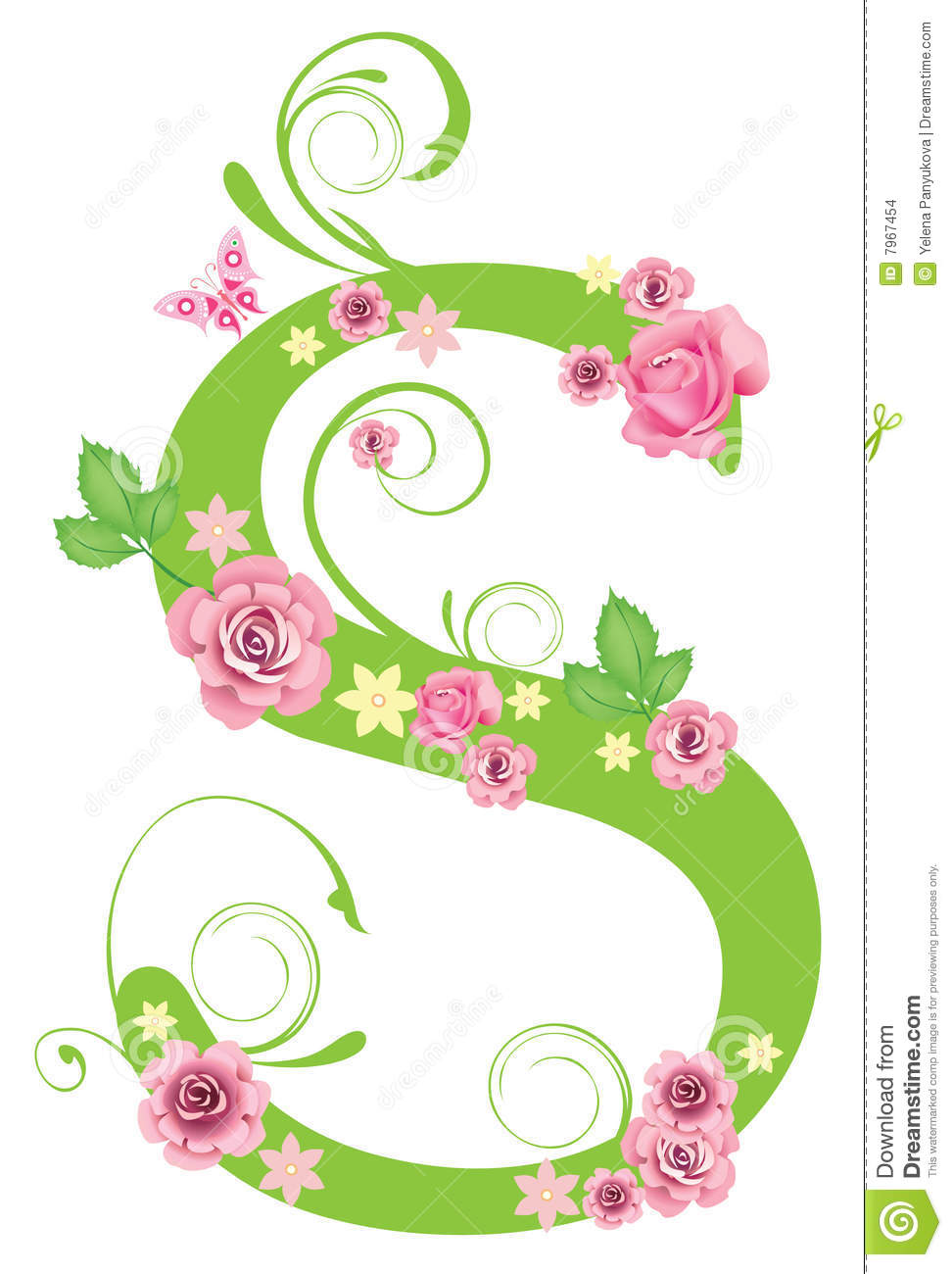 Letter S With Roses Stock Vector Illustration Of Spell 7967454