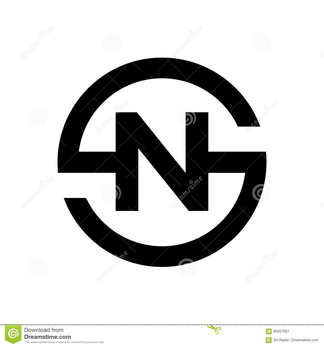 Letter S Symbol Combination With N Stock Vector Illustration Of