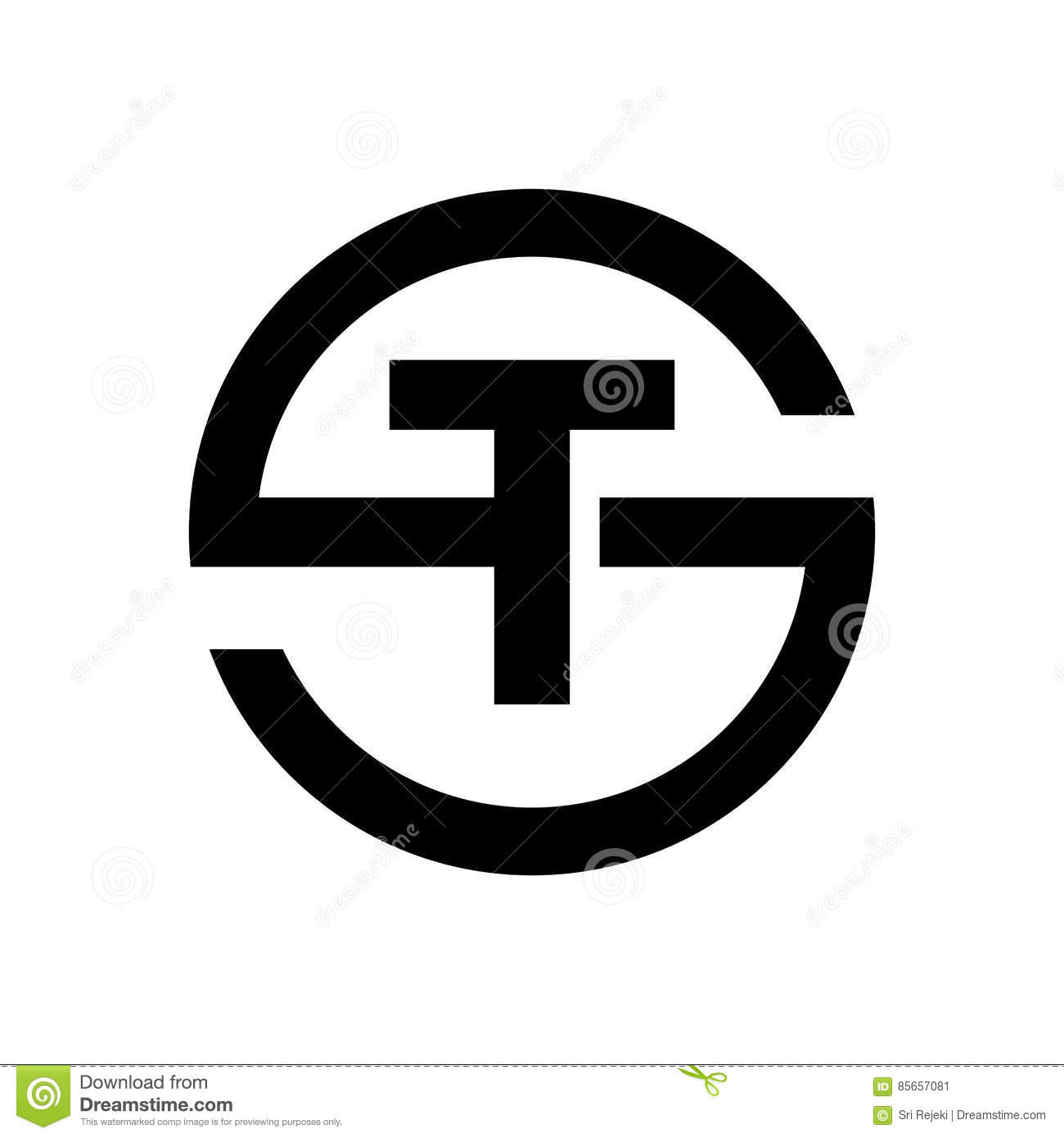 Letter S Symbol Combination With T Stock Vector Illustration Of
