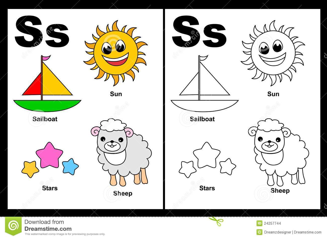Alphabet letter s with colorful cliparts and coloring graphics
