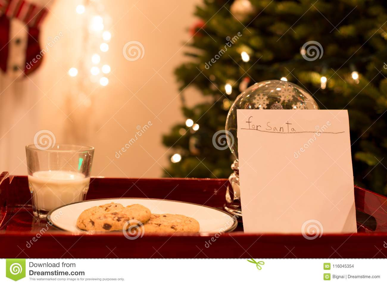 Letter For Santa With Cookies And Glass Of Milk Stock Photo Image