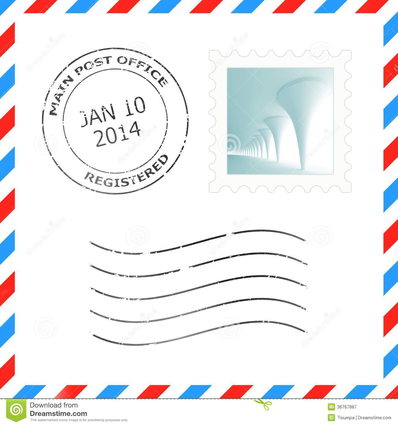 Postage stamp and postmark for a letter envelope illustrations