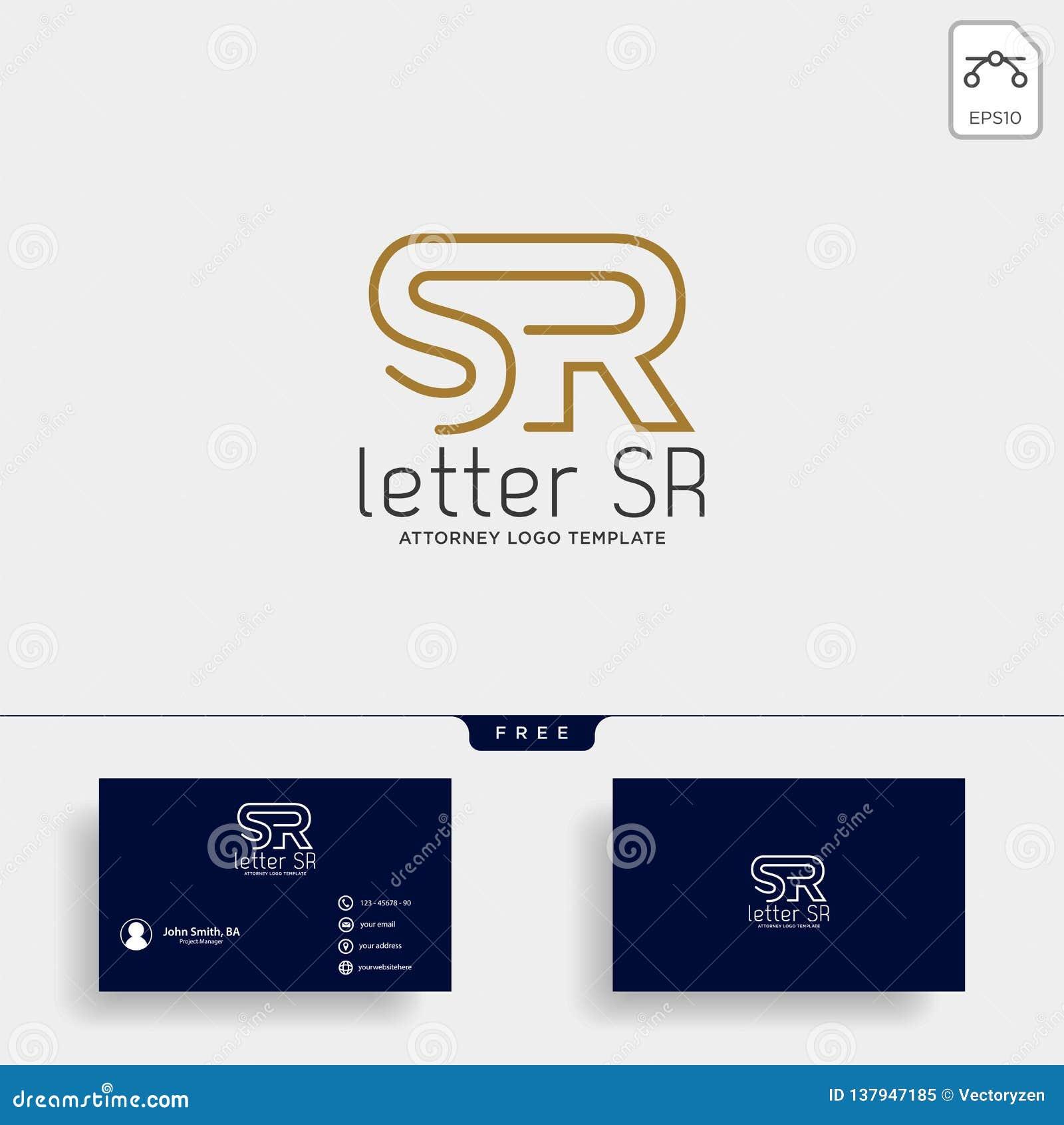 letter SR attorney logo line design template vector illustration