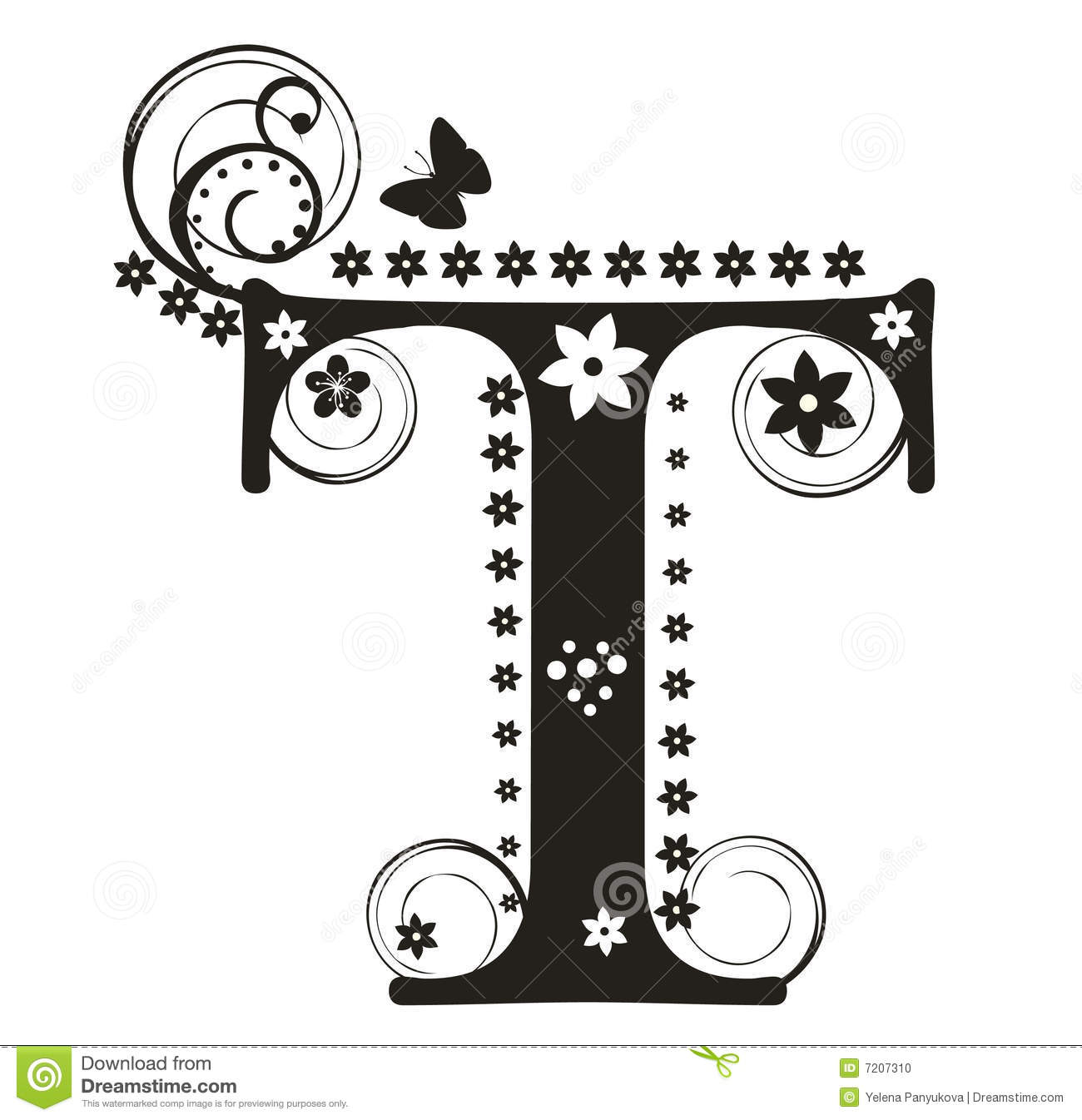 Letter T Stock Vector Illustration Of Sign British Flores