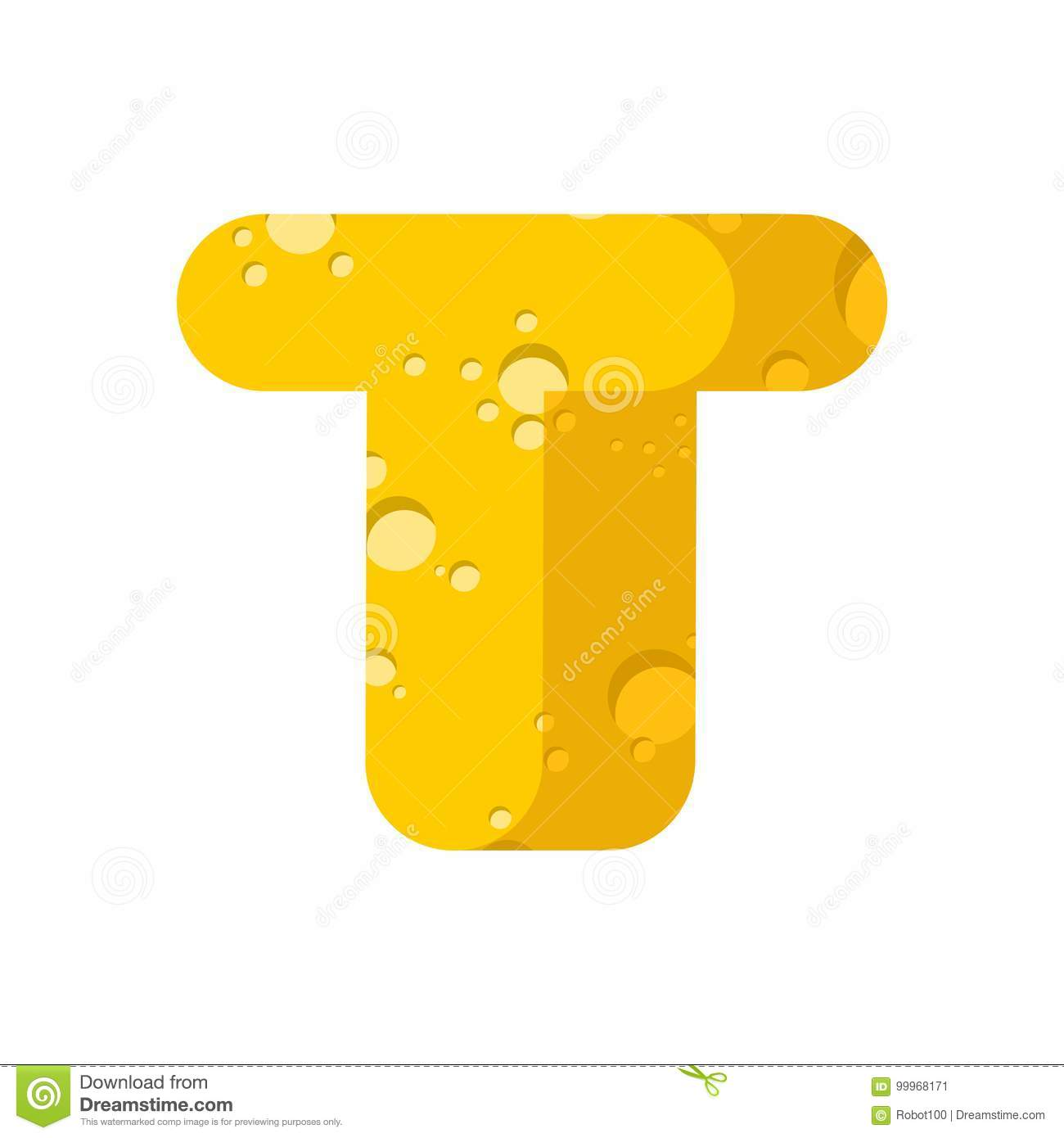 letter t cheese font symbol of cheesy alphabet dairy food type