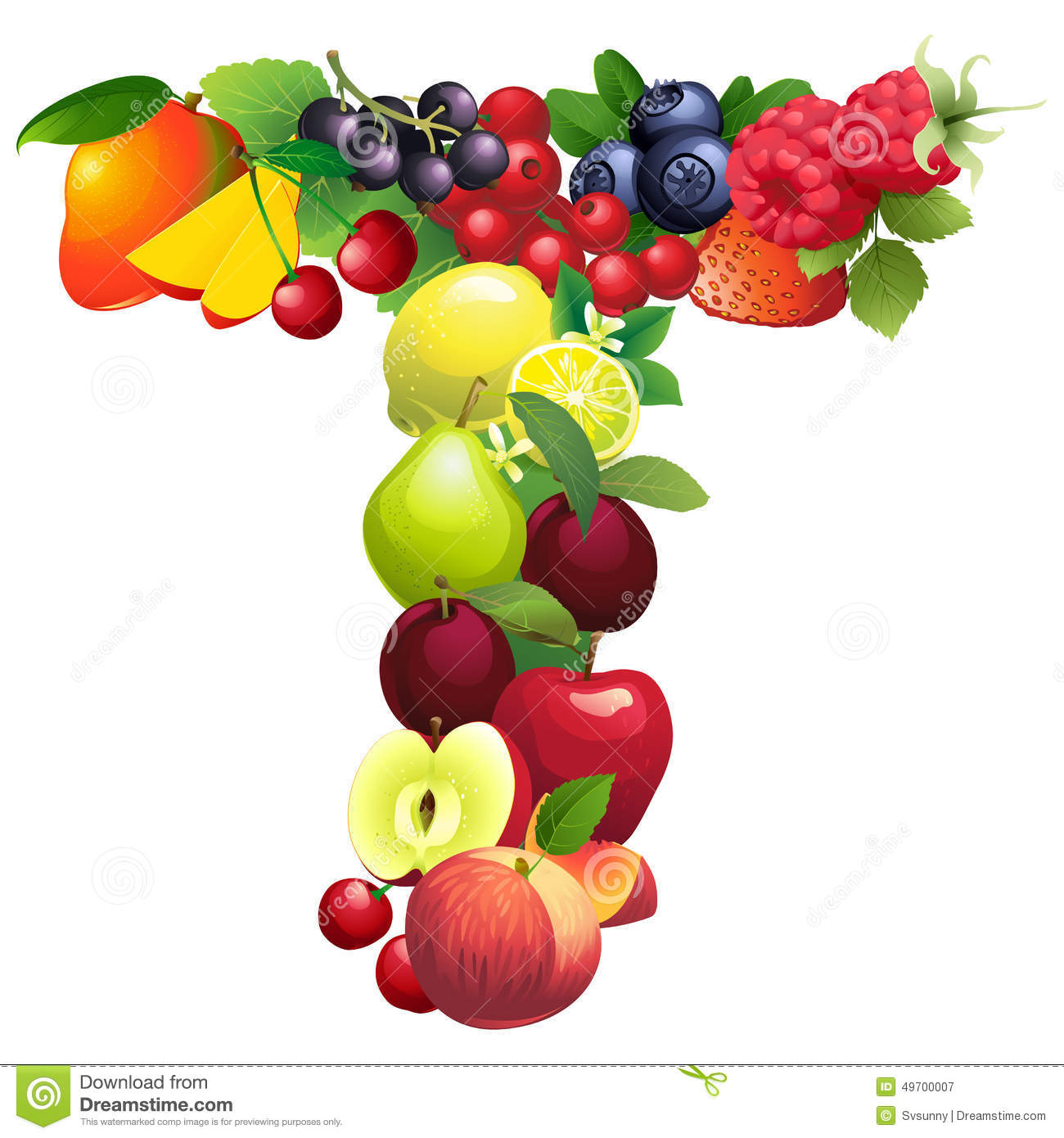 Letter T Composed Of Different Fruits With Leaves Stock