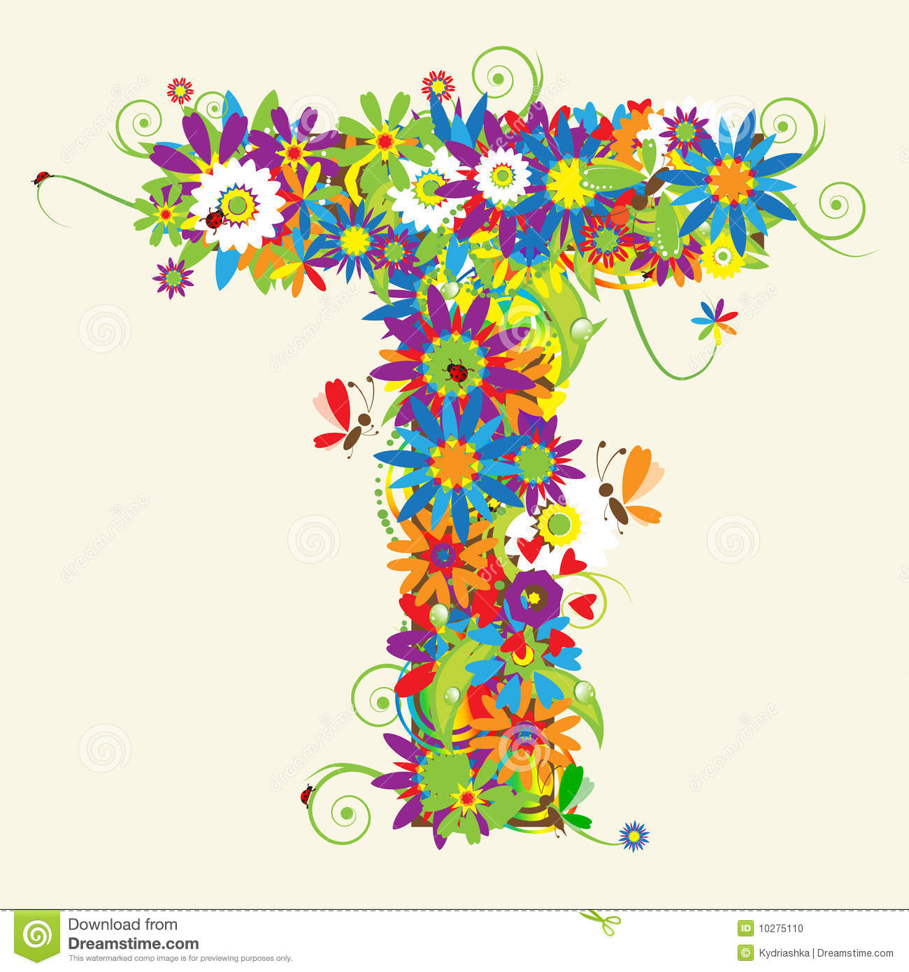 Letter t floral design stock vector image of holiday for Letter t decoration