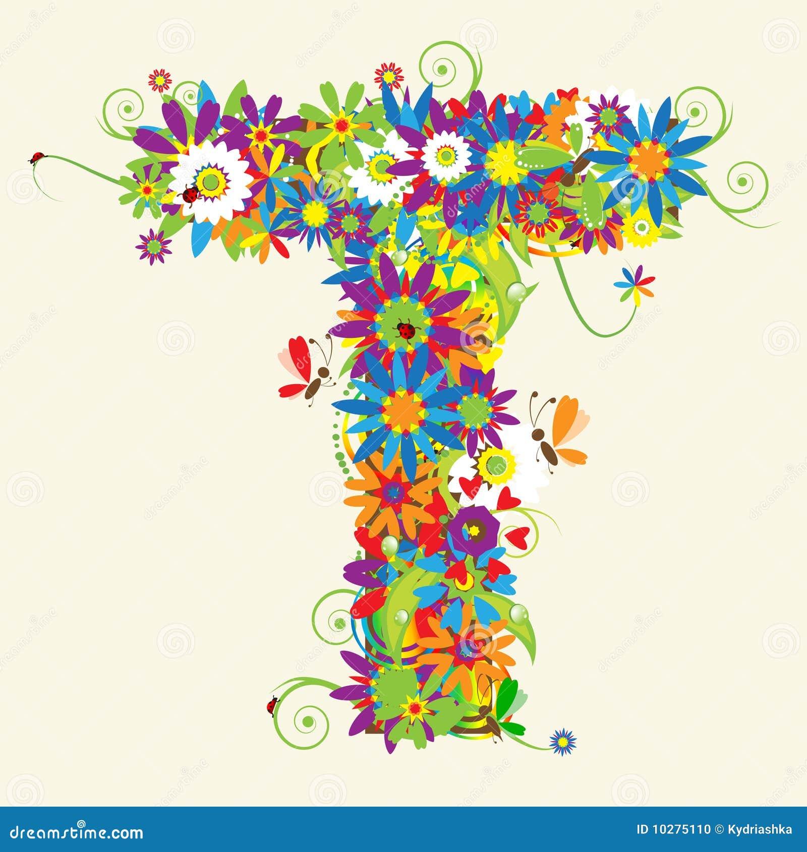 Letter T Floral Design