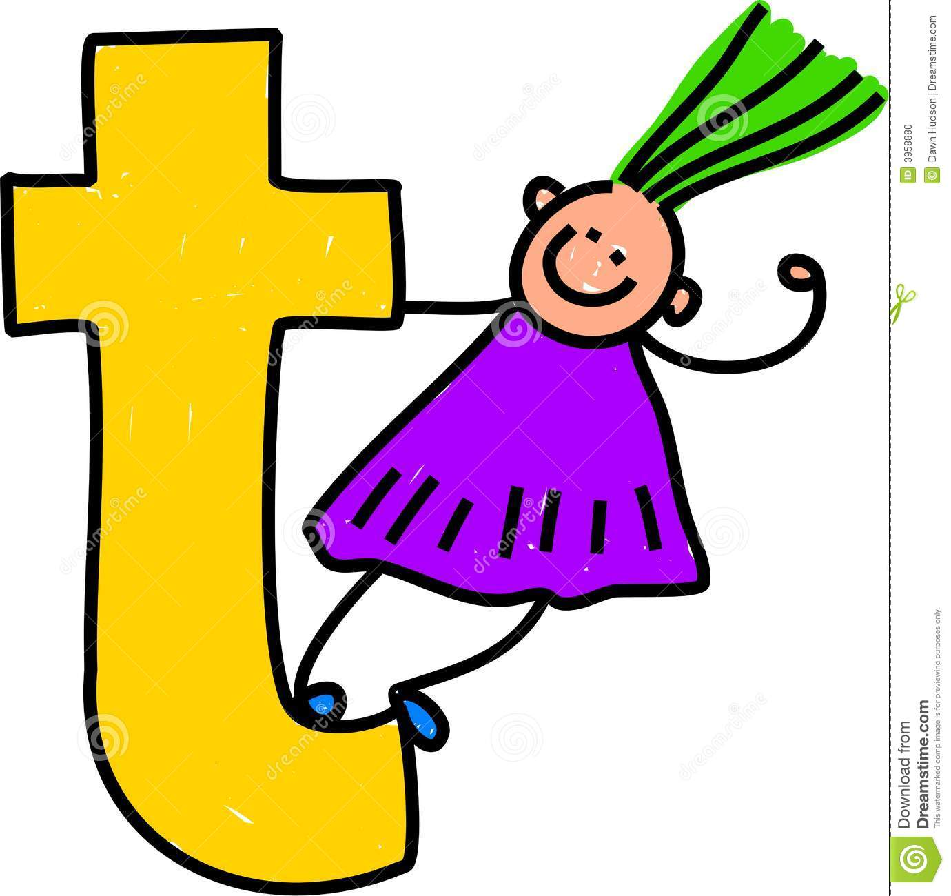 Letter T Girl Stock Photo - Image: 3958880