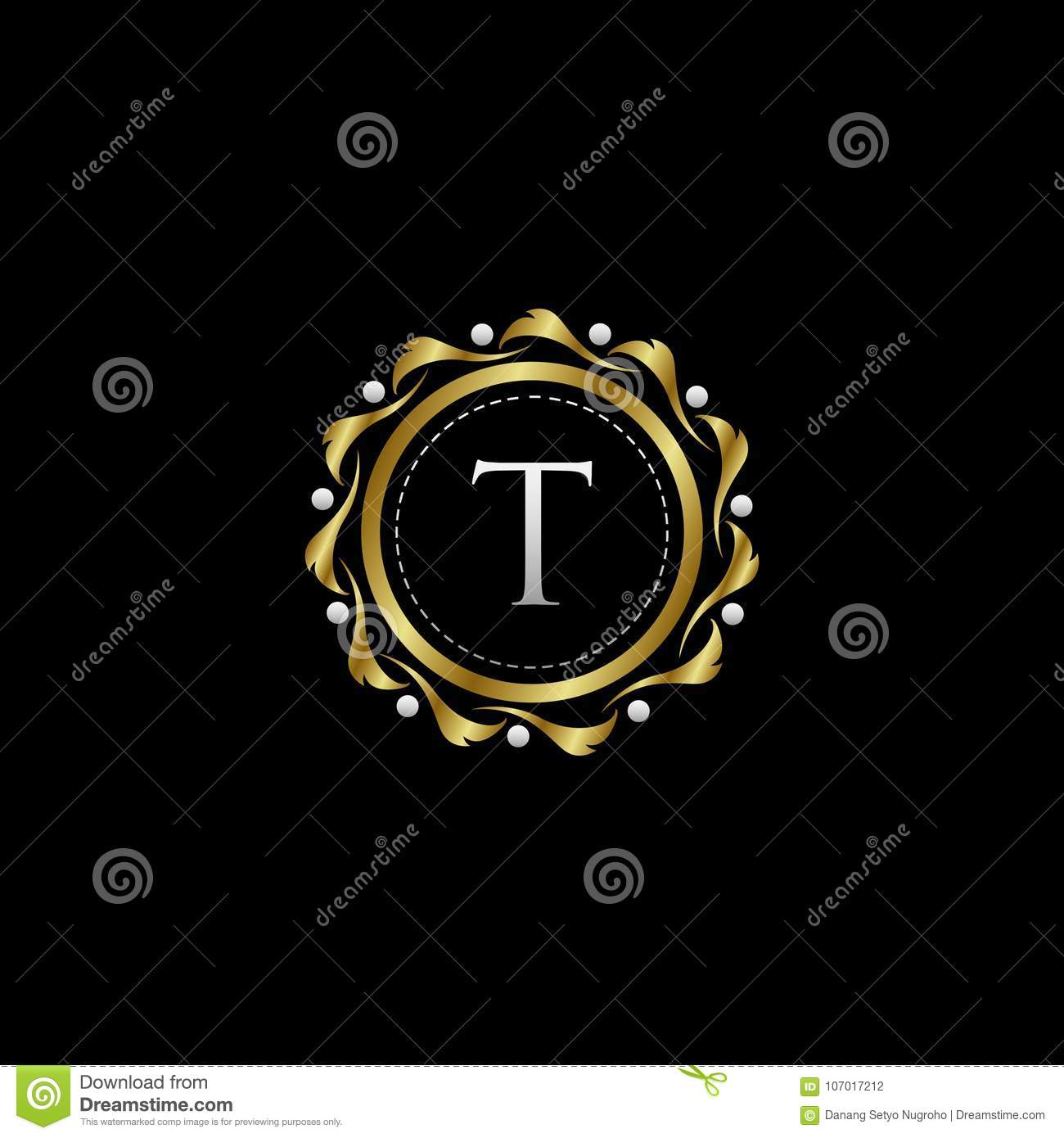 letter t luxury boutique circle badge template logo stock