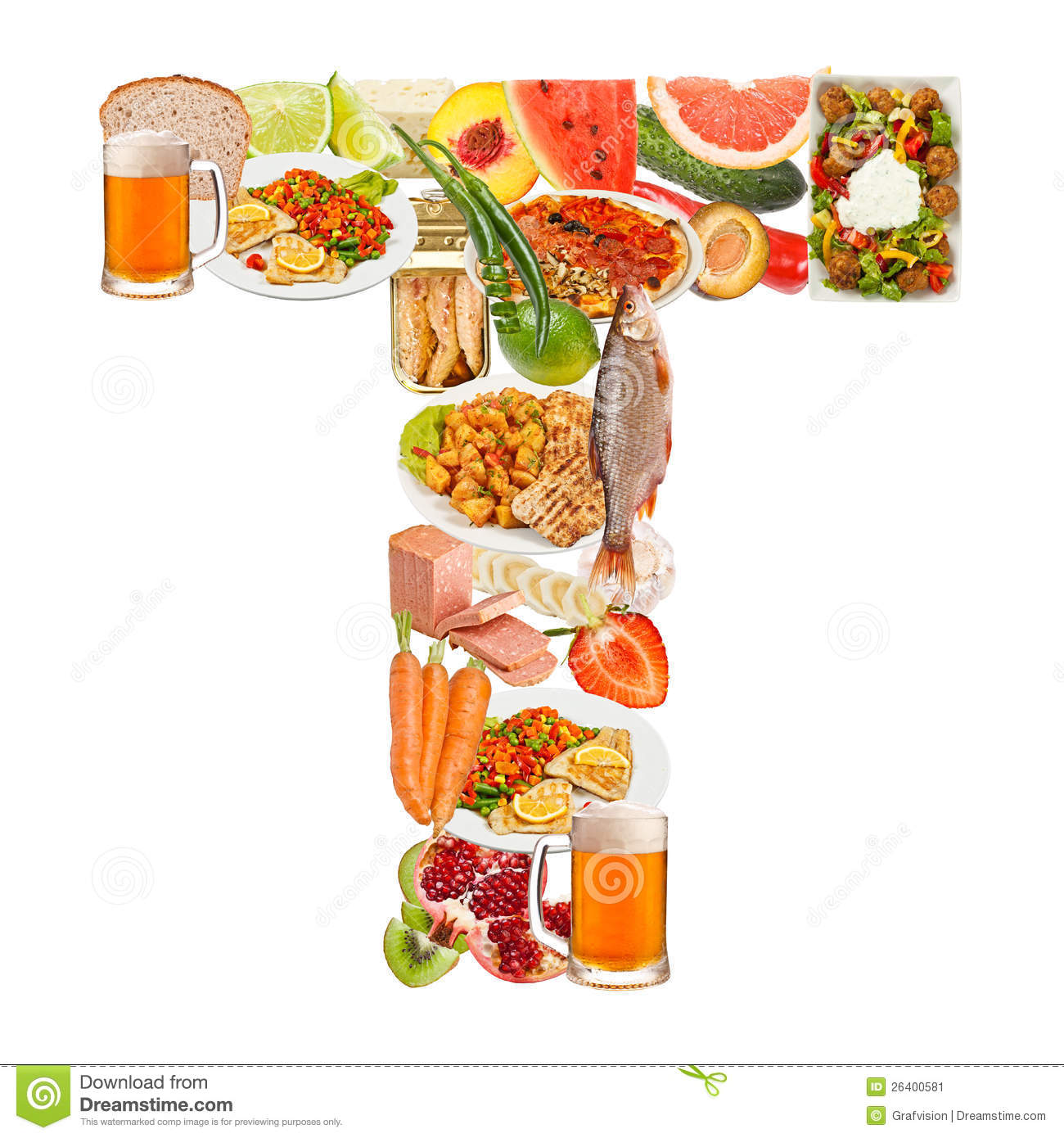 Letter T Made Of Food Stock Image Image 26400581