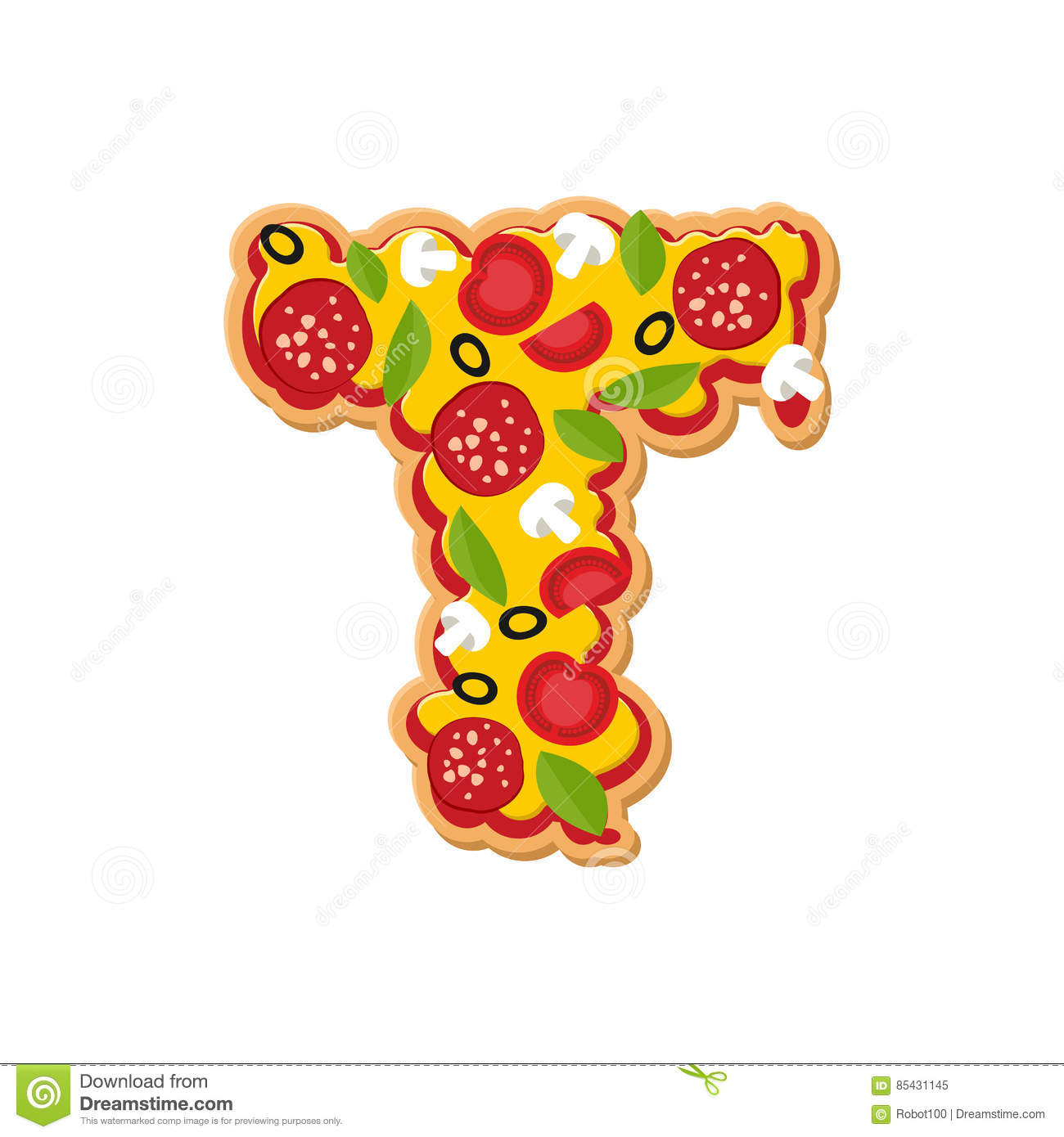 letter t pizza font italian meal alphabet lettring fast food