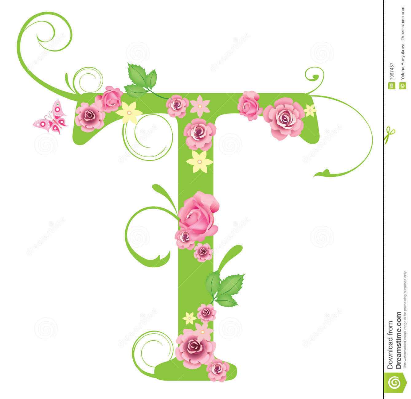 Letter T With Roses Stock Vector Illustration Of Bouquet