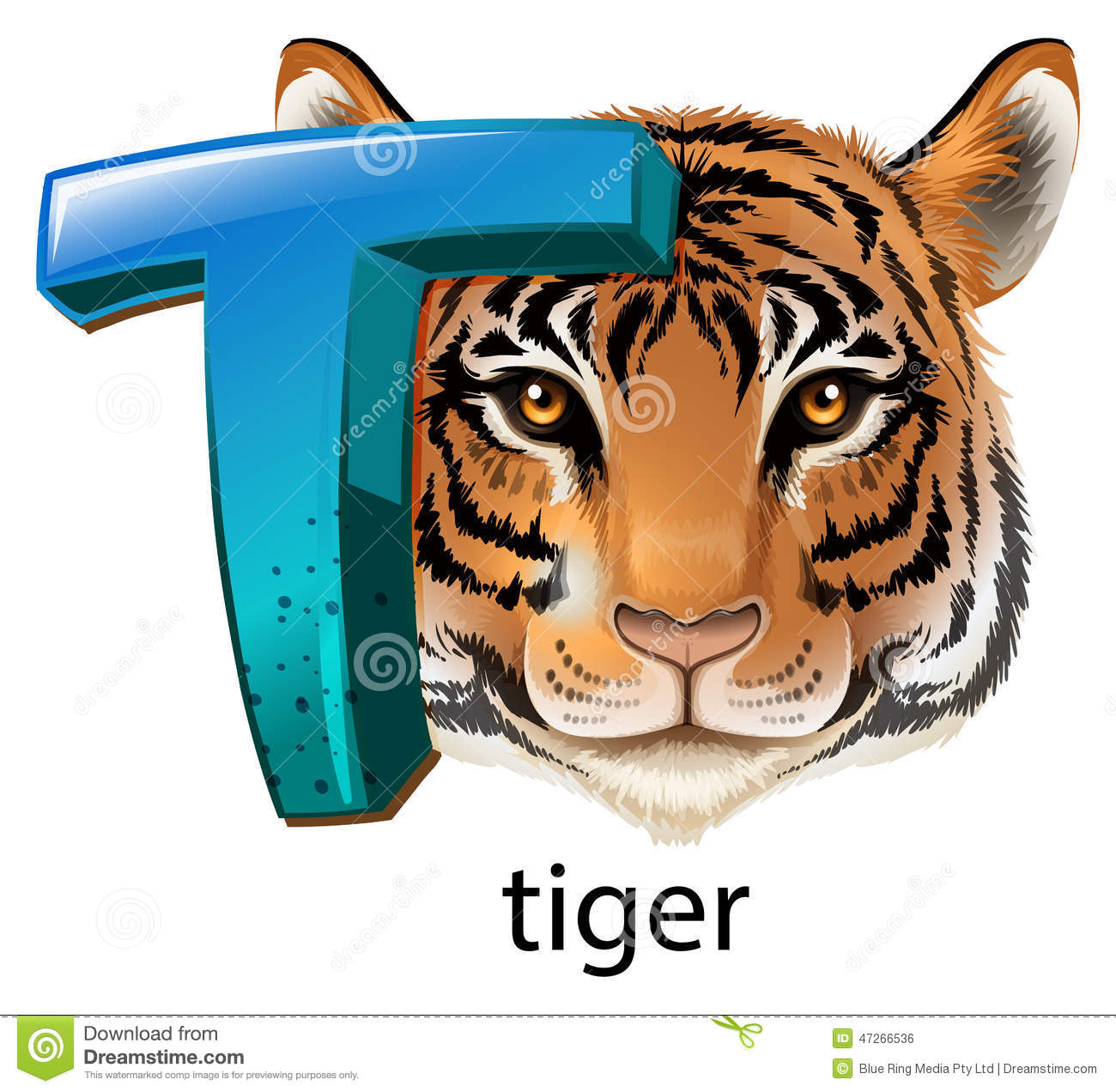 Download A Letter T For Tiger Stock Vector Illustration Of