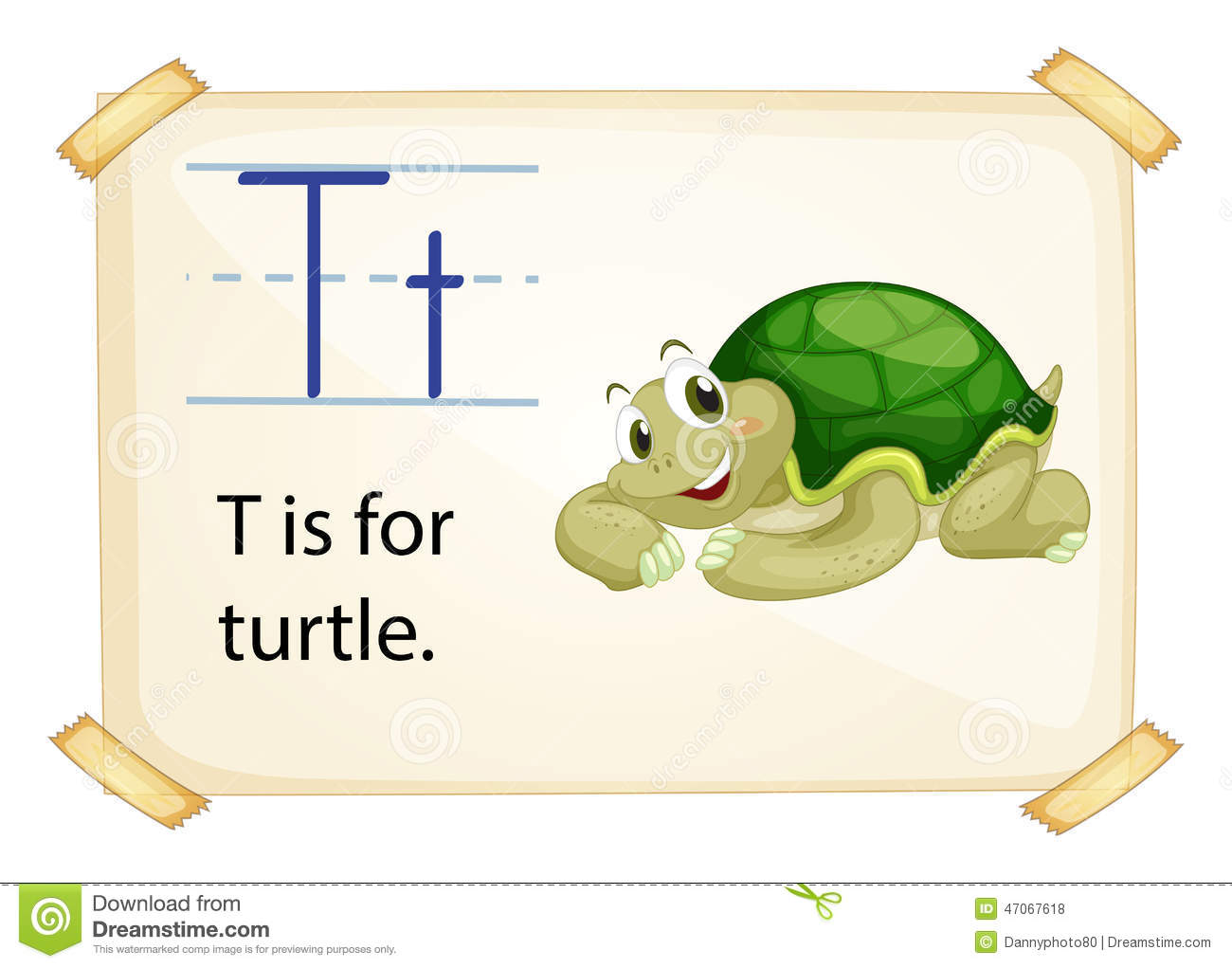 A Letter T For Turtle Stock Vector Image Of Hard Cartoon