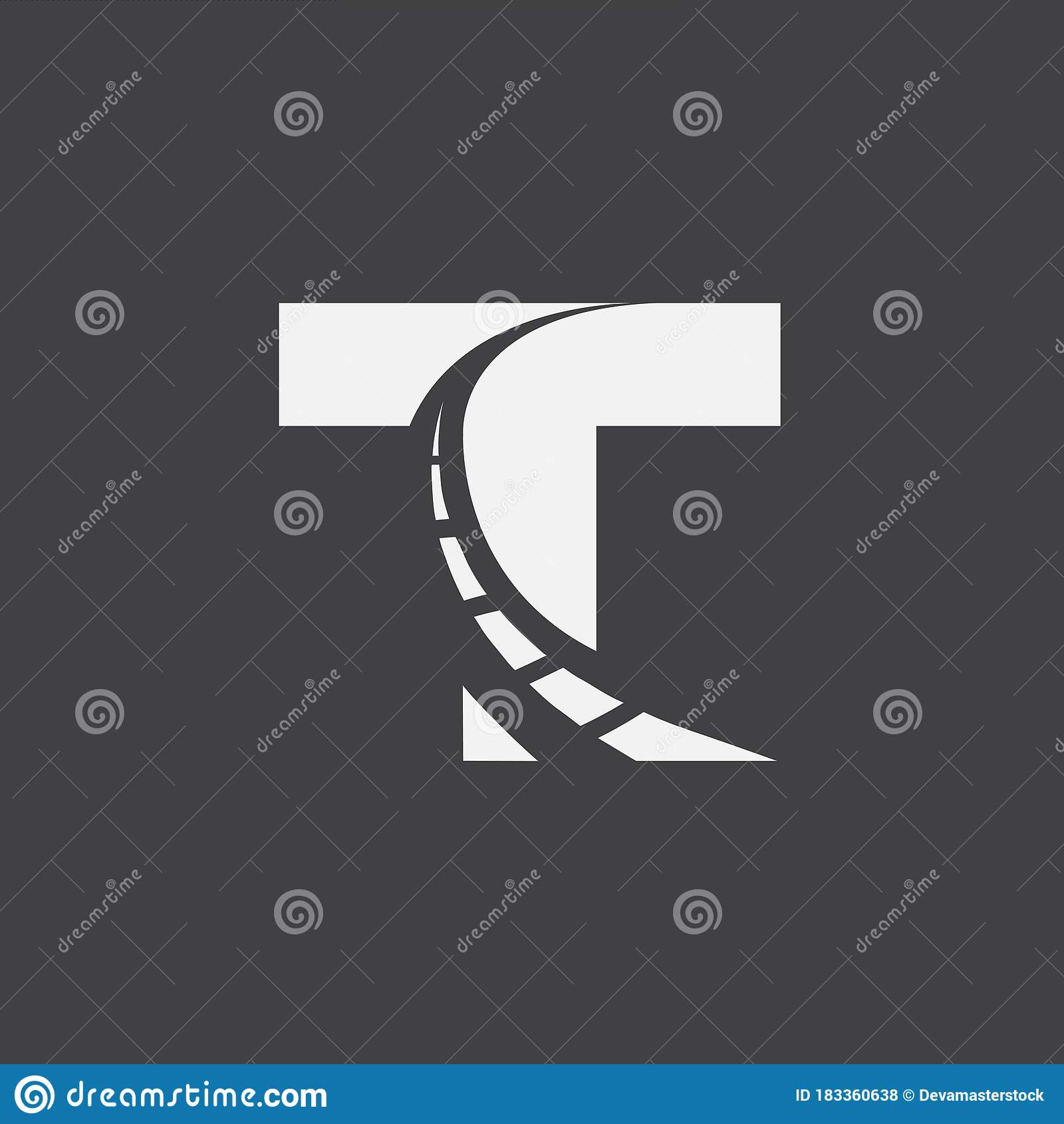Letter T Way Logo Design Template Stock Vector